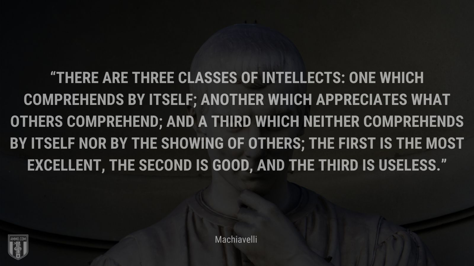 """""""There are three classes of intellects: one which comprehends by itself; another which appreciates what others comprehend; and a third which neither comprehends by itself nor by the showing of others; the first is the most excellent, the second is good, and the third is useless."""" - Machiavelli"""