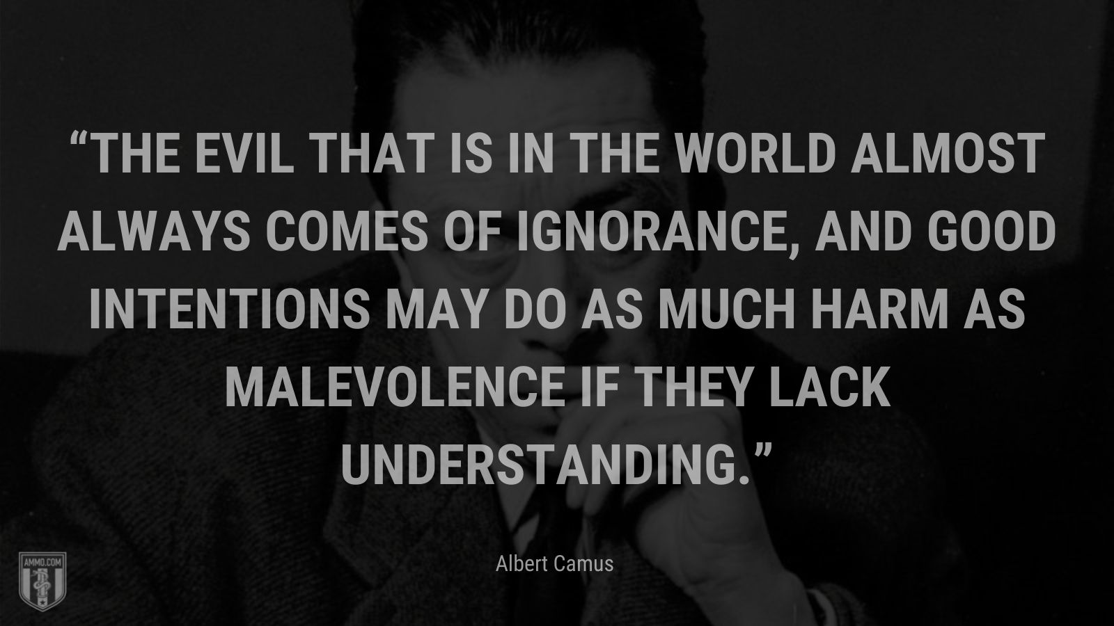 """""""The evil that is in the world almost always comes of ignorance, and good intentions may do as much harm as malevolence if they lack understanding."""" - Albert Camus"""