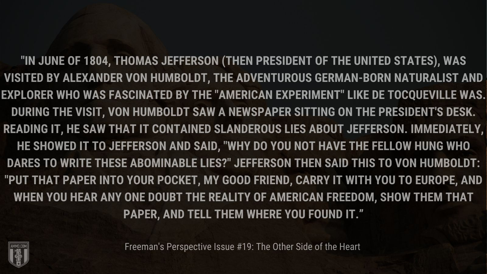 """""""In June of 1804, Thomas Jefferson"""" - Freemans Perspective Issue 19"""