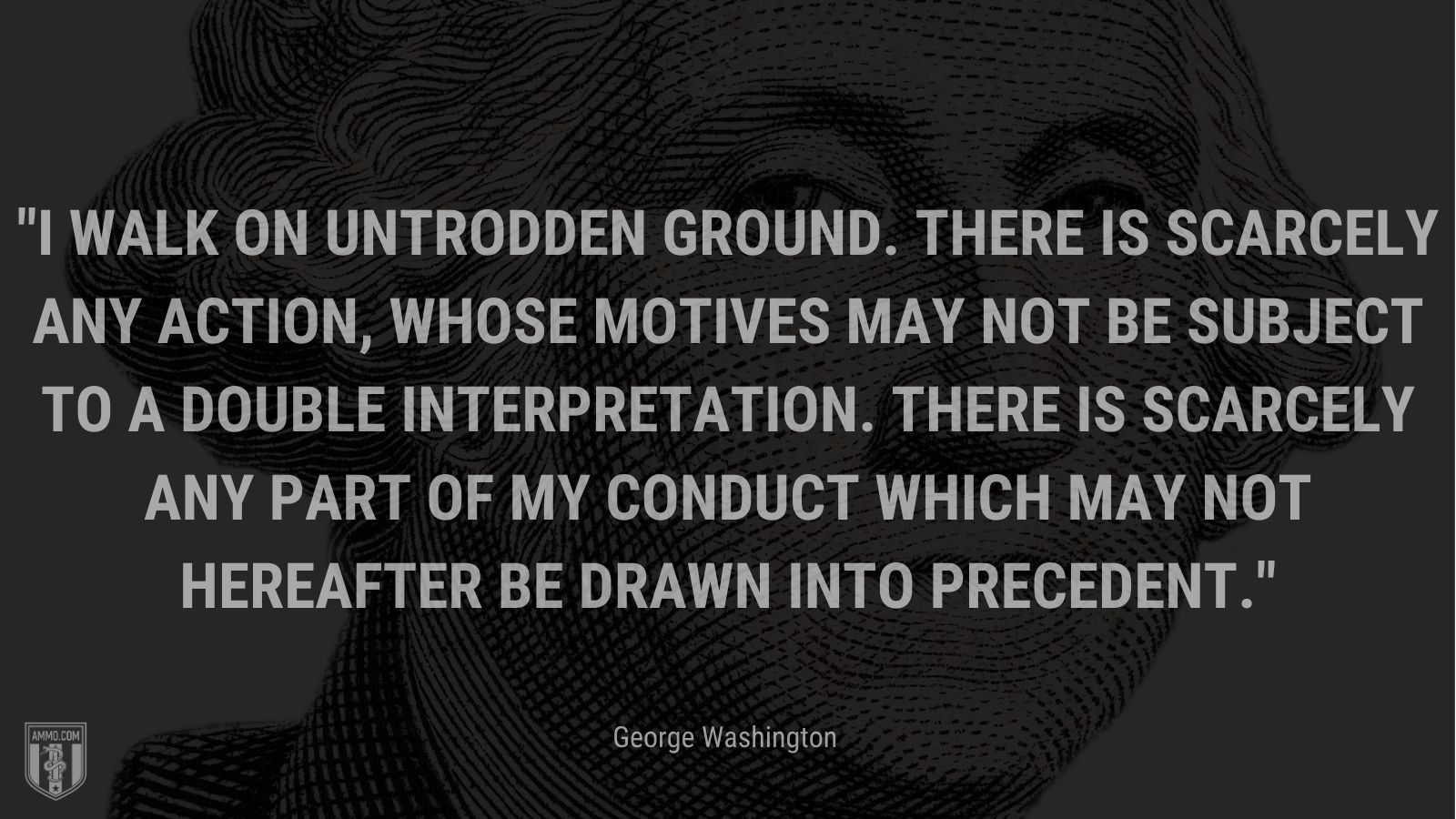 """""""I walk on untrodden ground. There is scarcely any action, whose motives may not be subject to a double interpretation. There is scarcely any part of my conduct which may not hereafter be drawn into precedent."""" - George Washington"""