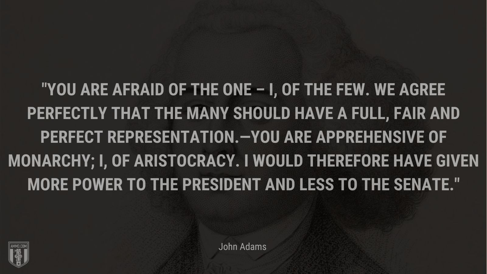 """""""You are afraid of the one – I, of the few. We agree perfectly that the many should have a full, fair and perfect  Representation.—You are Apprehensive of Monarchy; I, of Aristocracy. I would therefore have given more Power to the President and less to the Senate."""" - John Adam"""