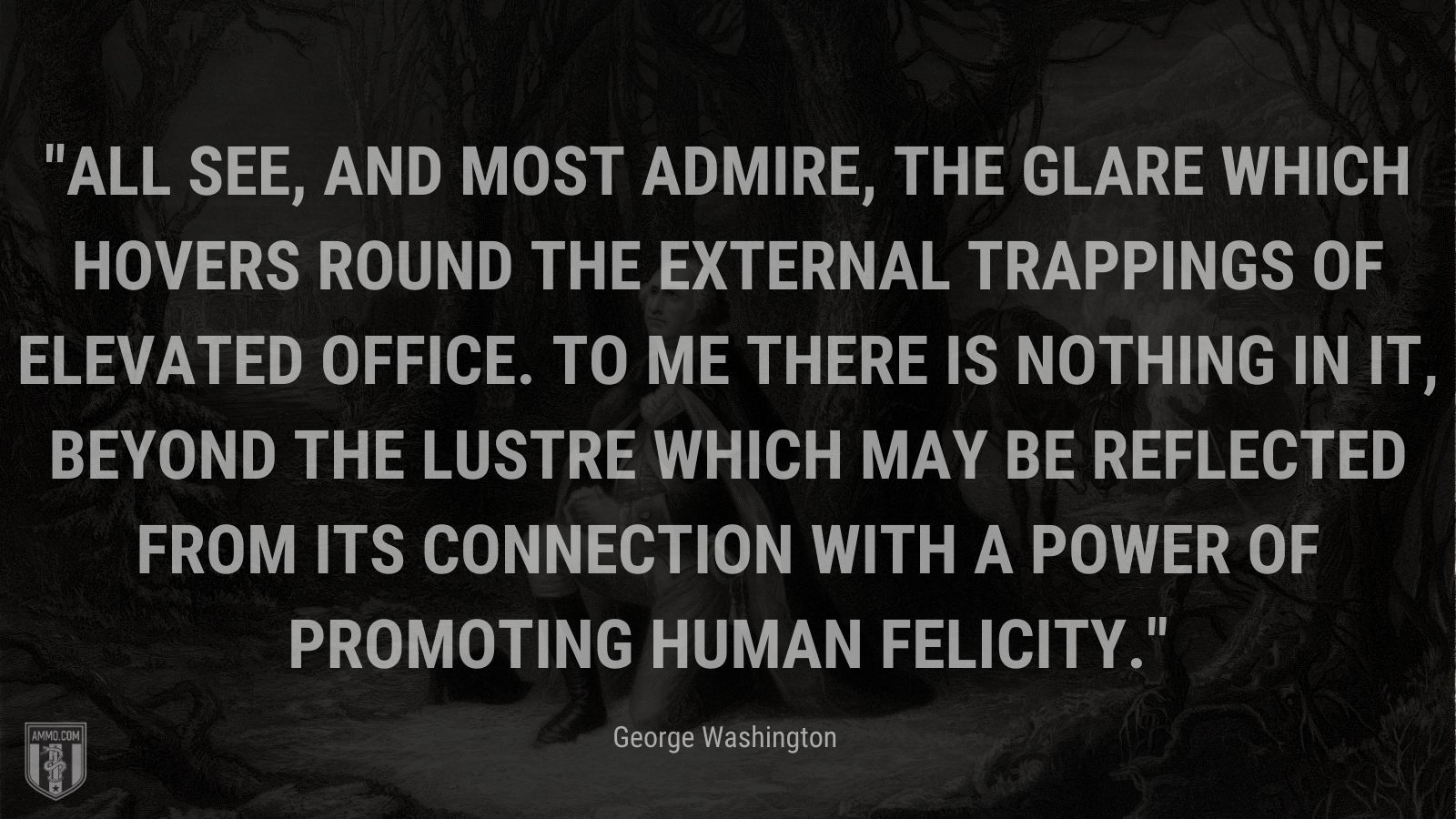 """""""All see, and most admire, the glare which hovers round the external trappings of elevated office. To me there is nothing in it, beyond the lustre which may be reflected from its connection with a power of promoting human felicity."""" - George Washington"""