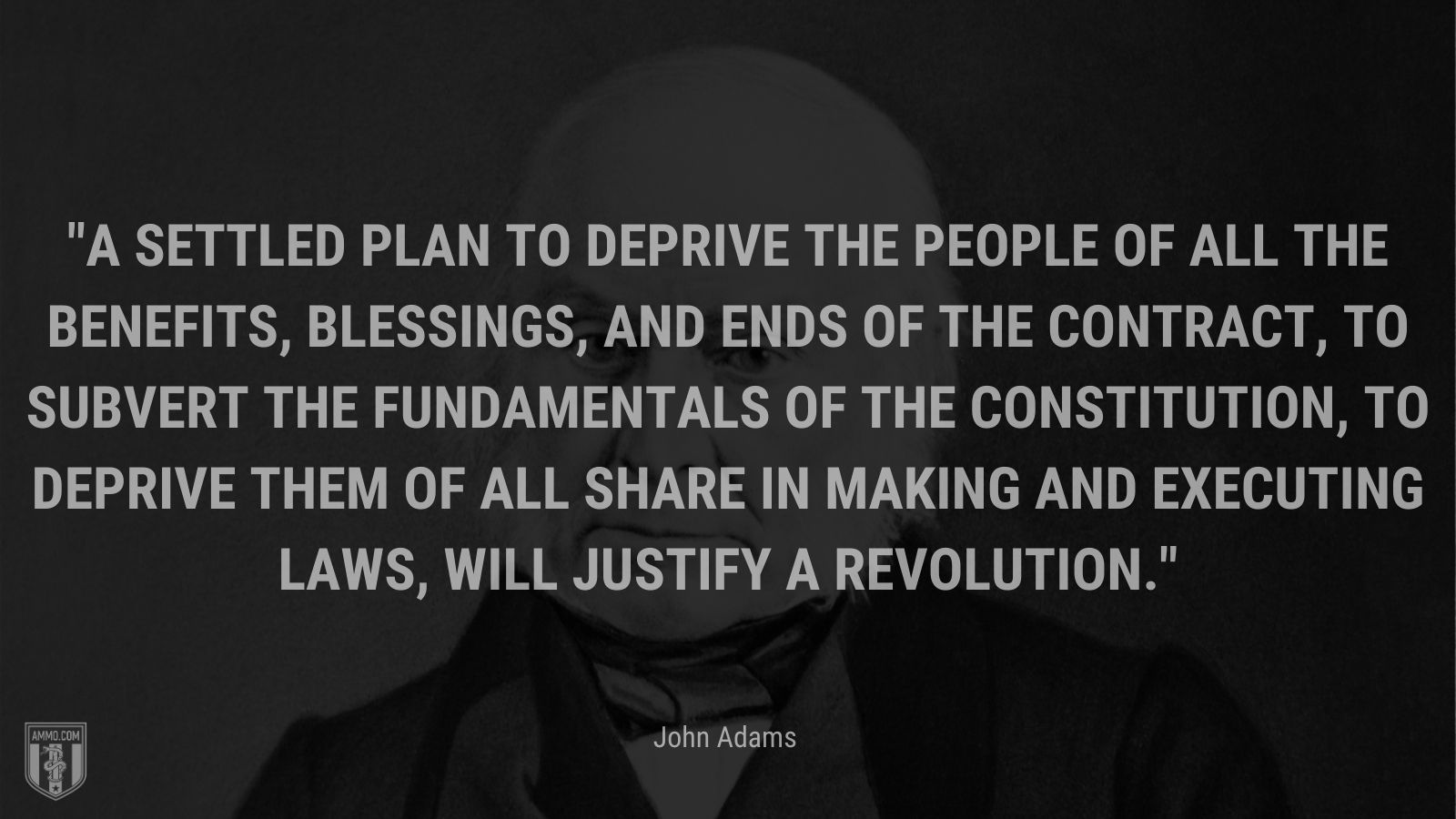 """""""A settled plan to deprive the people of all the benefits, blessings, and ends of the contract, to subvert the fundamentals of the constitution, to deprive them of all share in making and executing laws, will justify a revolution."""" - John Adams"""
