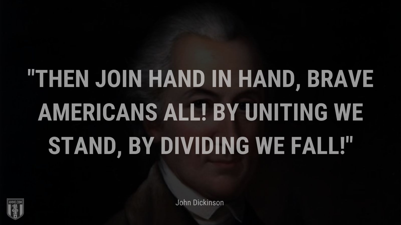 """""""Then join hand in hand, brave Americans all! By uniting we stand, by dividing we fall!"""" - John Dickinson"""
