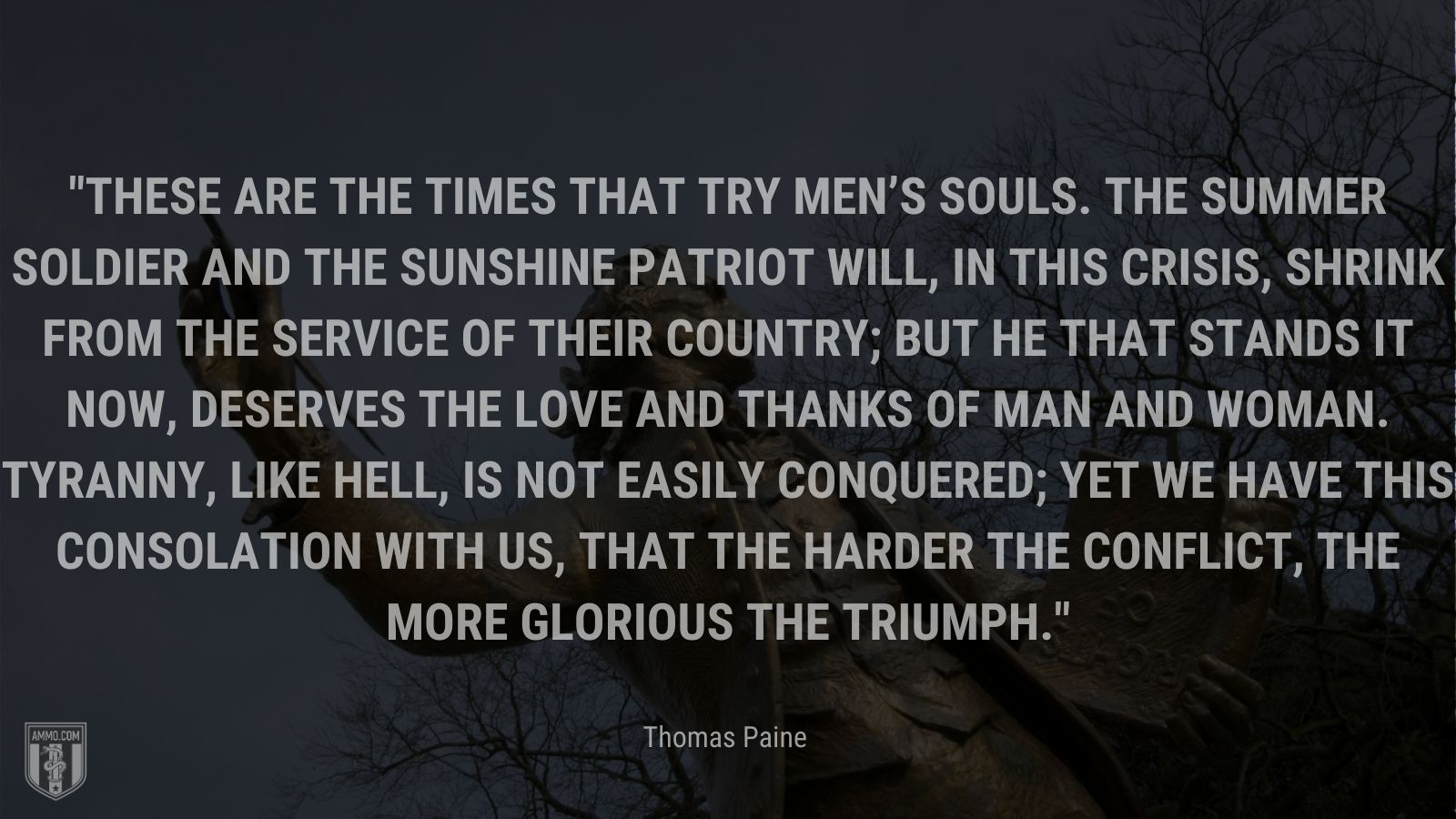 """""""These are the times that try men's souls. The summer soldier and the sunshine patriot will, in this crisis, shrink from the service of their country; but he that stands it now, deserves the love and thanks of man and woman. Tyranny, like hell, is not easily conquered; yet we have this consolation with us, that the harder the conflict, the more glorious the triumph."""" - Thomas Paine"""
