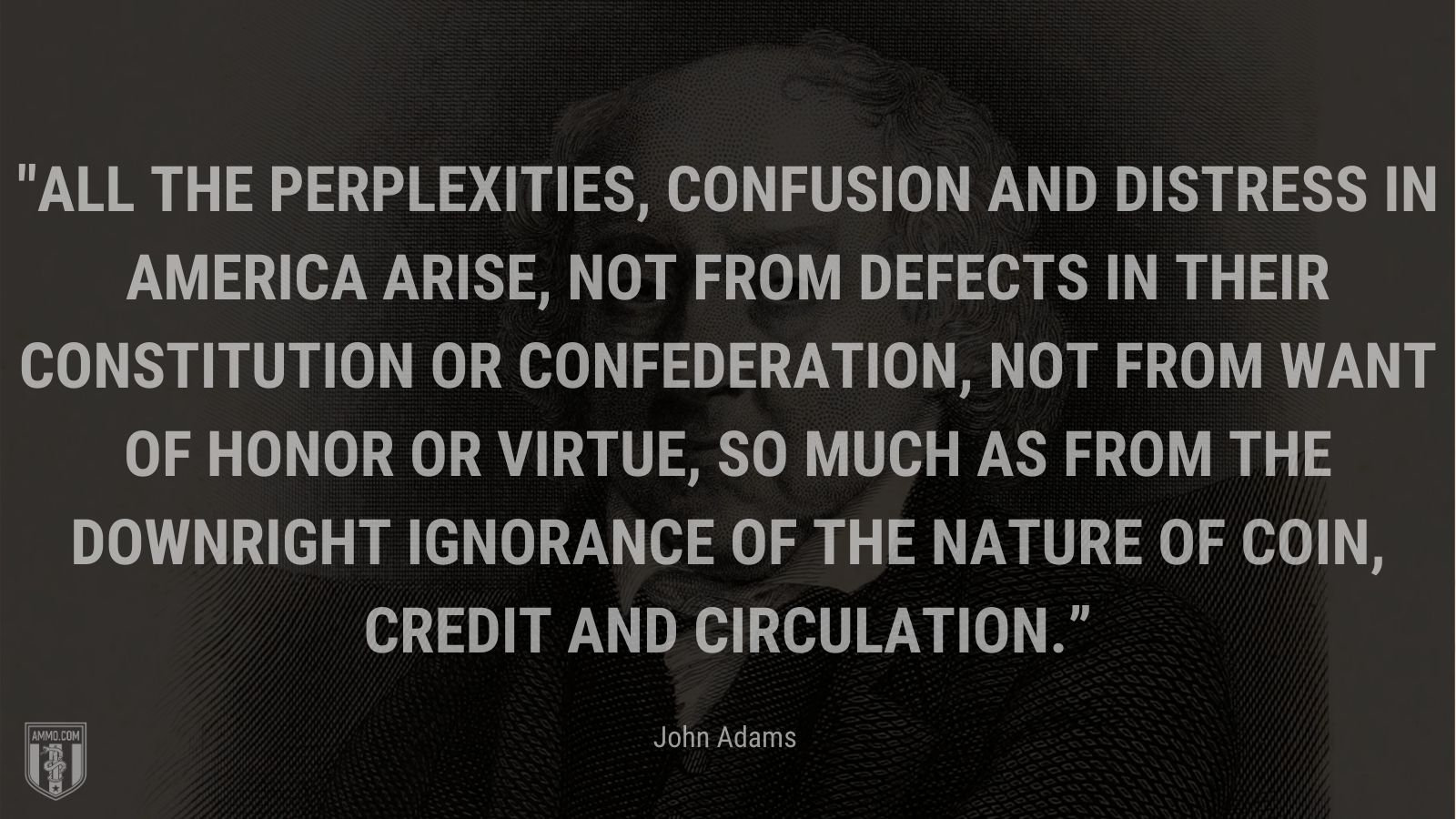 """""""All the perplexities, confusion and distress in America arise, not from defects in their Constitution or Confederation, not from want of honor or virtue, so much as from the downright ignorance of the nature of coin, credit and circulation."""" - John Adams"""
