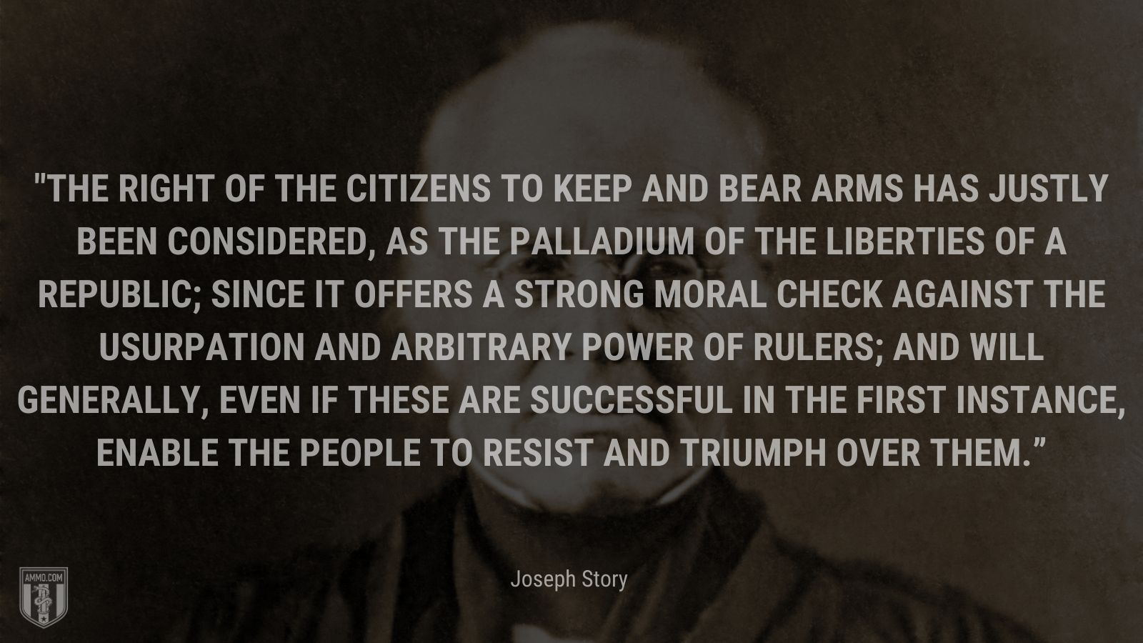 """""""The right of the citizens to keep and bear arms has justly been considered, as the palladium of the liberties of a republic; since it offers a strong moral check against the usurpation and arbitrary power of rulers; and will generally, even if these are successful in the first instance, enable the people to resist and triumph over them."""" - Joseph Story"""
