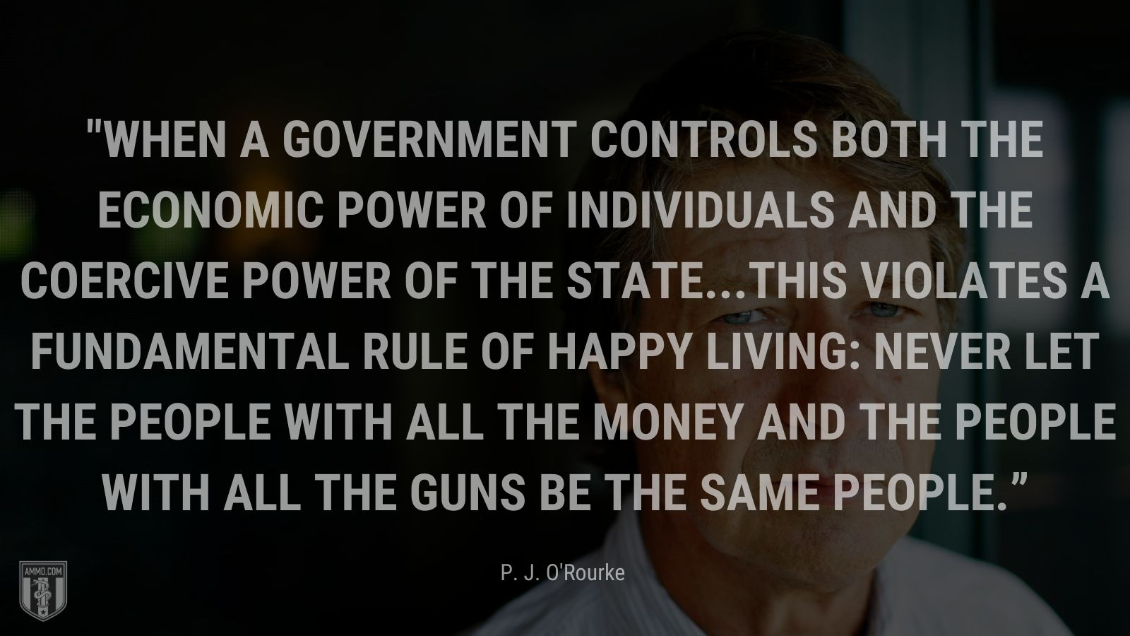"""""""When a government controls both the economic power of individuals and the coercive power of the state...this violates a fundamental rule of happy living: Never let the people with all the money and the people with all the guns be the same people."""" - P. J. O'Rourke"""