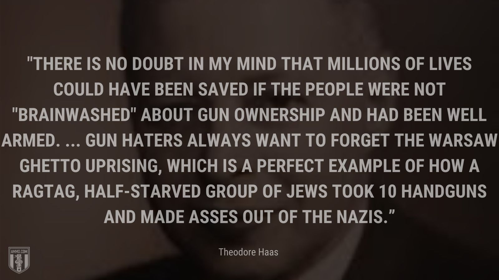 """""""There is no doubt in my mind that millions of lives could have been saved if the people were not brainwashed about gun ownership and had been well armed. ... Gun haters always want to forget the Warsaw Ghetto uprising, which is a perfect example of how a ragtag, half-starved group of Jews took 10 handguns and made asses out of the Nazis."""" - Theodore Haas"""