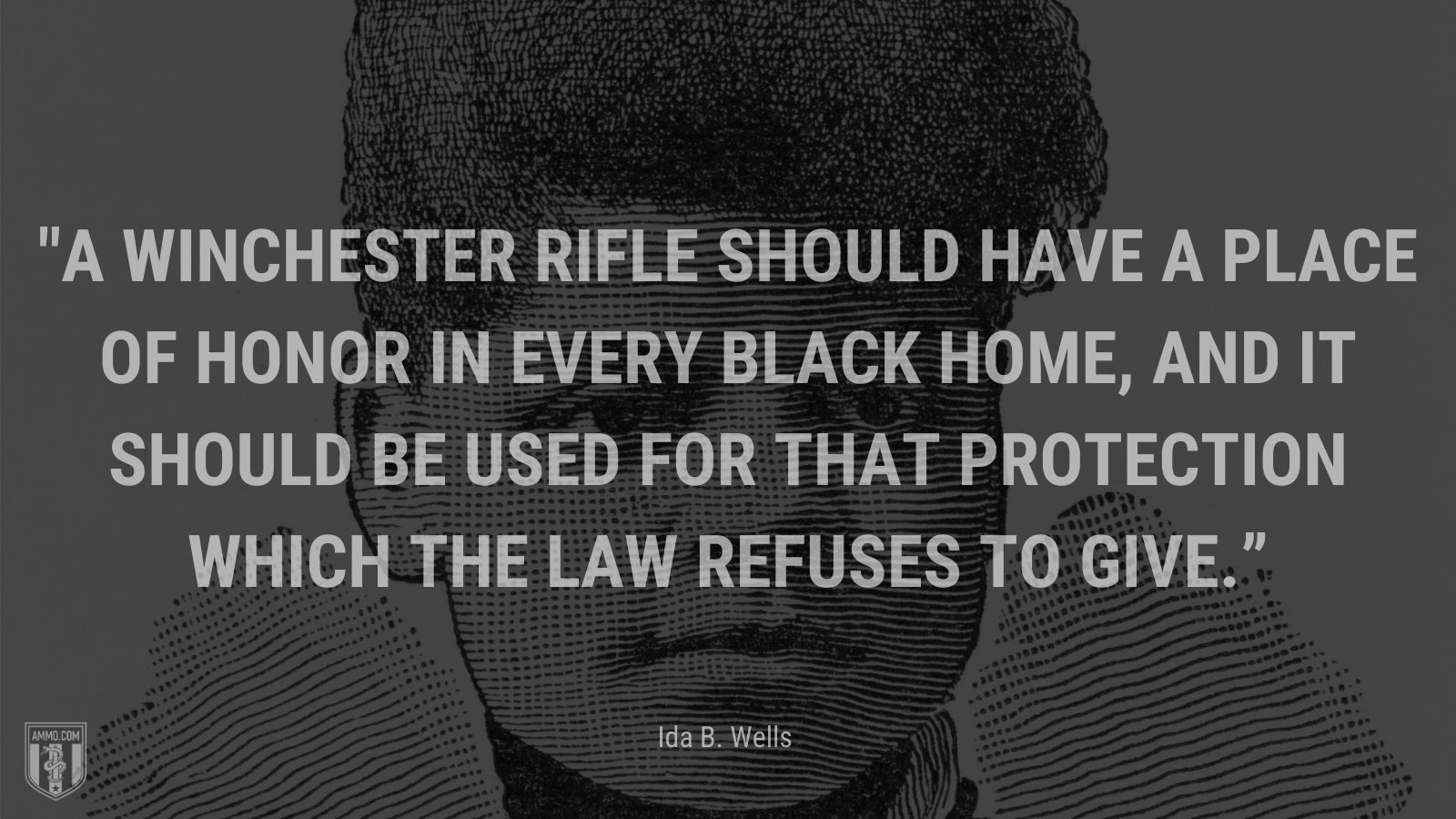 """""""A Winchester rifle should have a place of honor in every black home, and it should be used for that protection which the law refuses to give."""" - Ida B. Wells"""