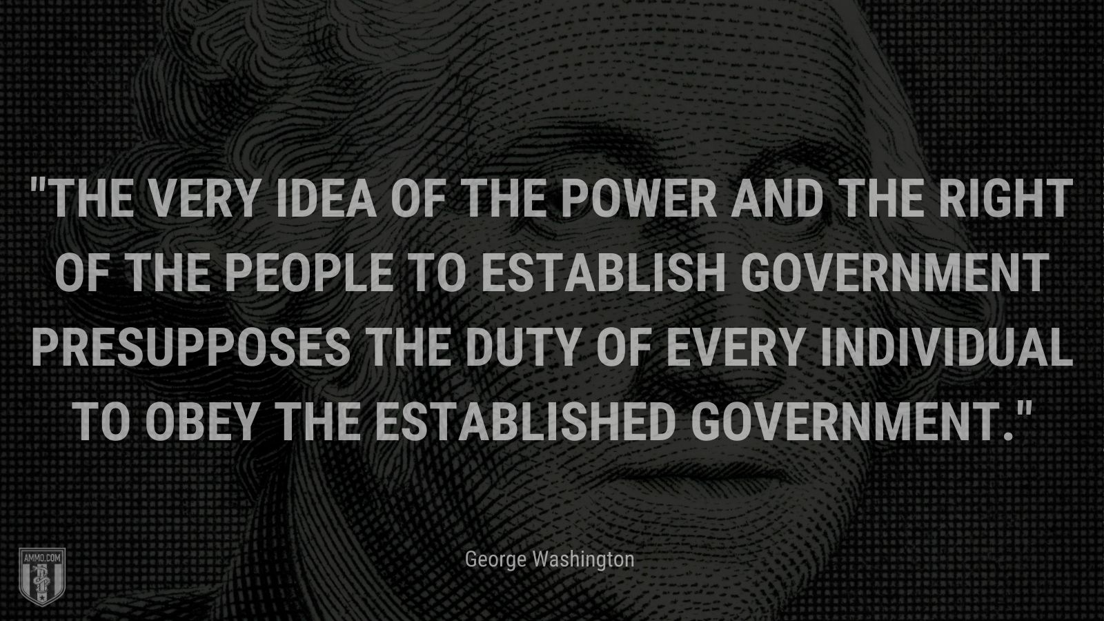 """""""The very idea of the power and the right of the People to establish Government presupposes the duty of every Individual to obey the established Government."""" - George Washington"""