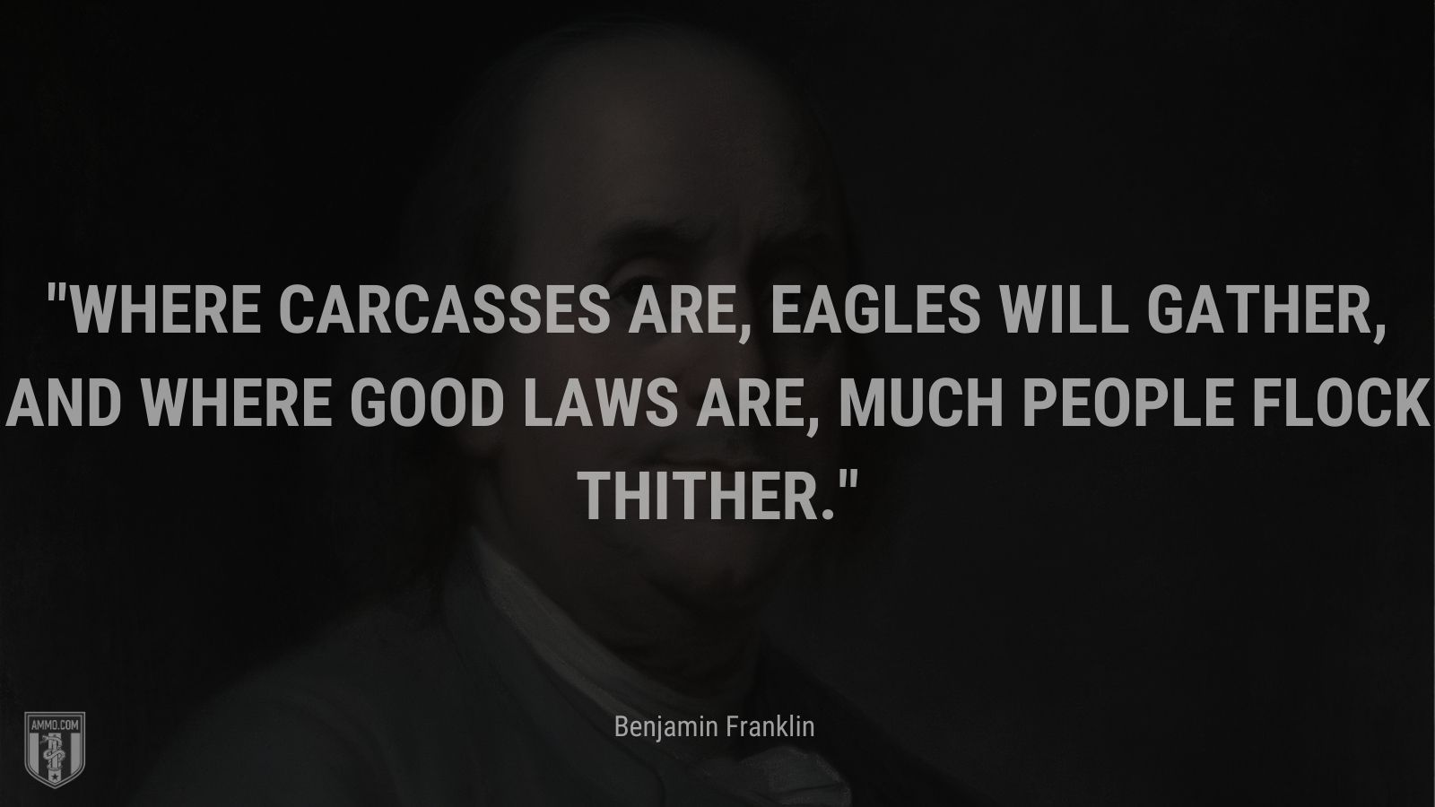 """""""Where carcasses are, eagles will gather, And where good laws are, much people flock thither."""" - Benjamin Franklin"""