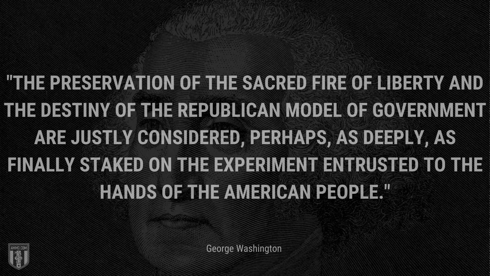"""""""The preservation of the sacred fire of liberty and the destiny of the republican model of government are justly considered, perhaps, as deeply, as finally staked on the experiment entrusted to the hands of the American people."""" - George Washington"""