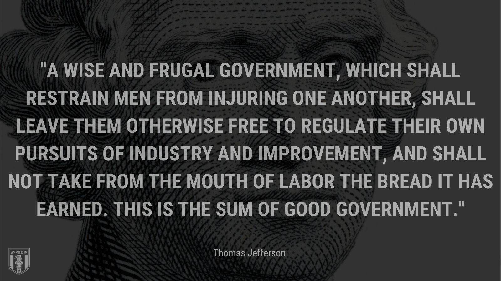 """""""A wise and frugal Government, which shall restrain men from injuring one another, shall leave them otherwise free to regulate their own pursuits of industry and improvement, and shall not take from the mouth of labor the bread it has earned. This is the sum of good government."""" - Thomas Jefferson"""