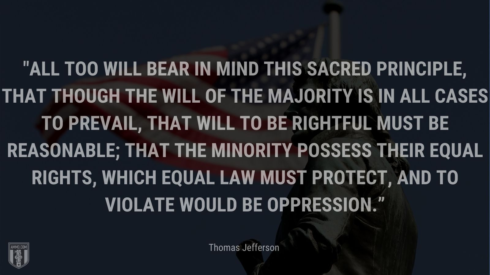 """""""All too will bear in mind this sacred principle, that though the will of the majority is in all cases to prevail, that will to be rightful must be reasonable; that the minority possess their equal rights, which equal law must protect, and to violate would be oppression."""" - Thomas Jefferson"""