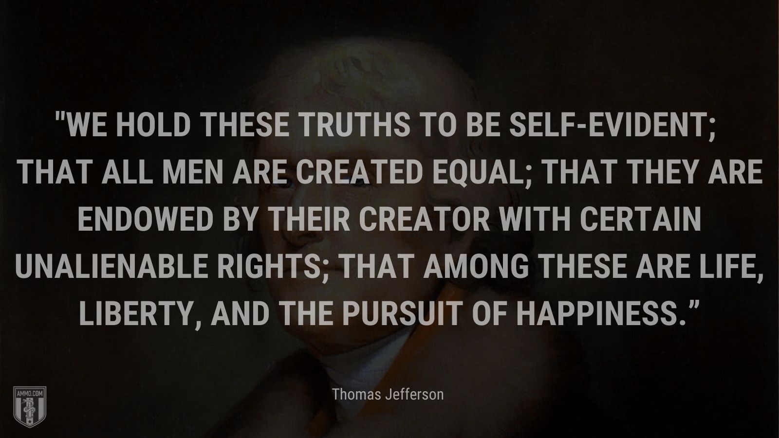 """""""We hold these truths to be self-evident; that all men are created equal; that they are endowed by their creator with certain unalienable rights; that among these are life, liberty, and the pursuit of happiness."""" - Thomas Jefferson"""