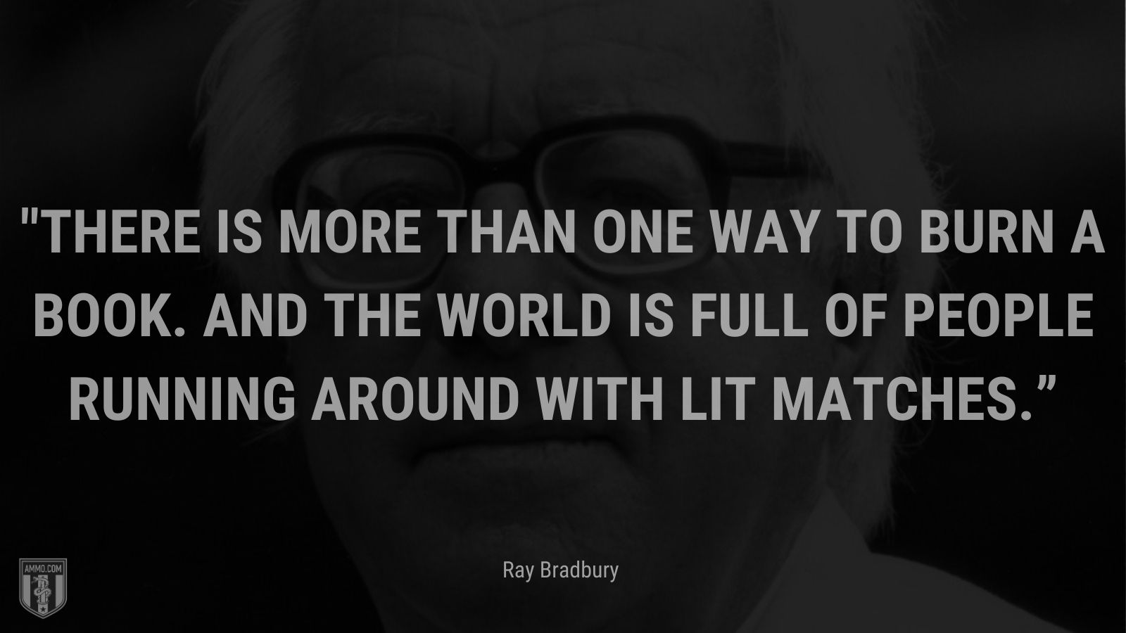 """""""There is more than one way to burn a book.  And the world is full of people running around with lit matches."""" - Ray Bradbury"""