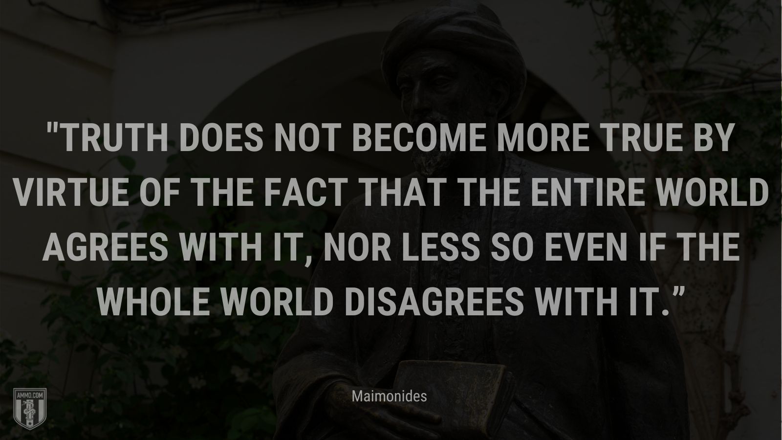 """""""Truth does not become more true by virtue of the fact that the entire world agrees with it, nor less so even if the whole world disagrees with it."""" - Maimonides"""