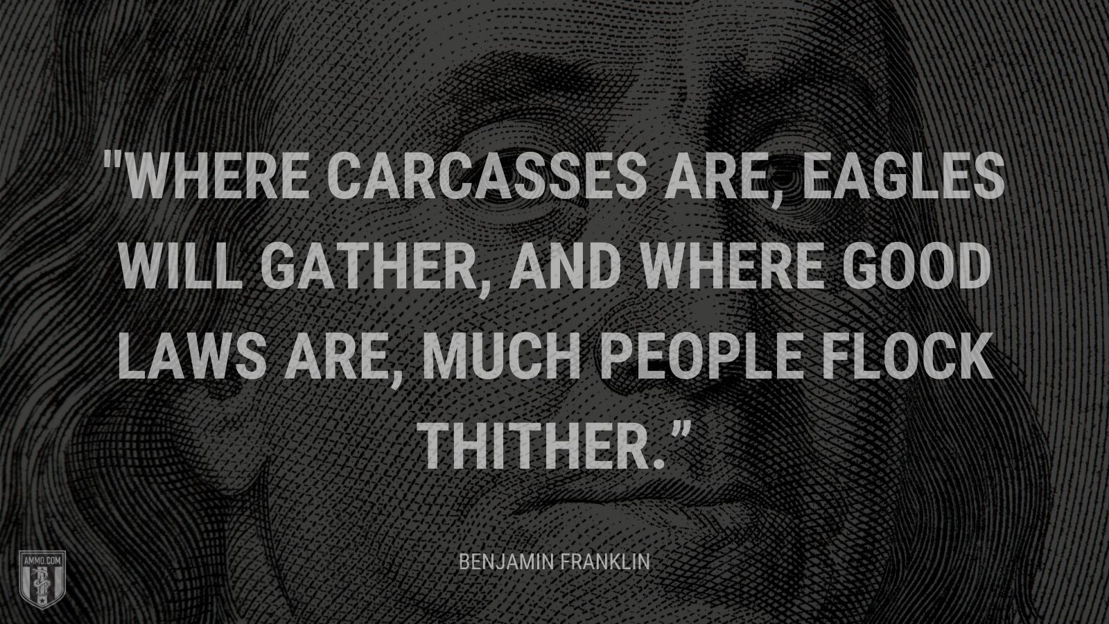 """Where carcasses are, eagles will gather, And where good laws are, much people flock thither."" - Benjamin Franklin"
