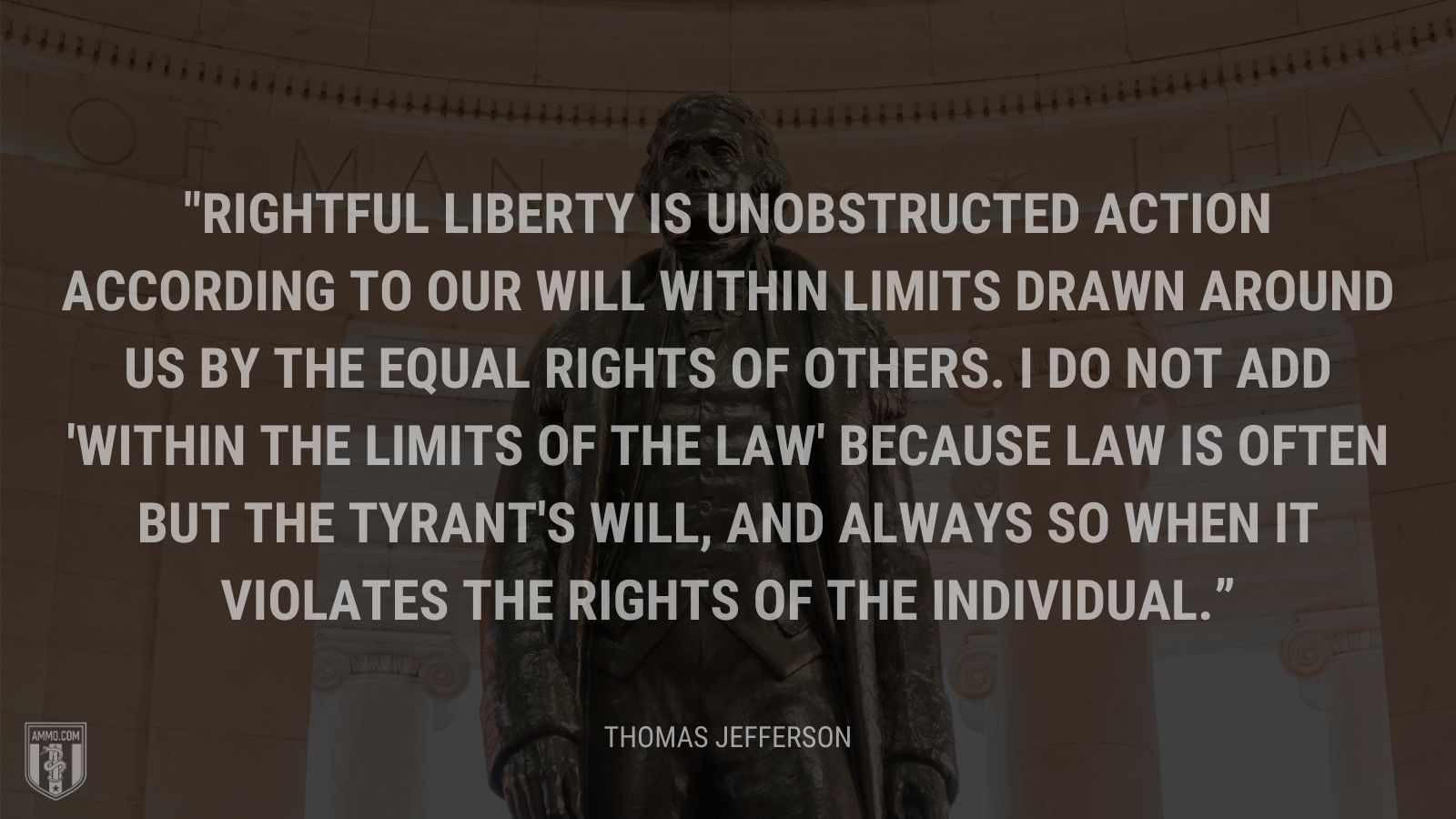 """Rightful liberty is unobstructed action according to our will within limits drawn around us by the equal rights of others. I do not add 'within the limits of the law' because law is often but the tyrant's will, and always so when it violates the rights of the individual."" - Thomas Jefferson"