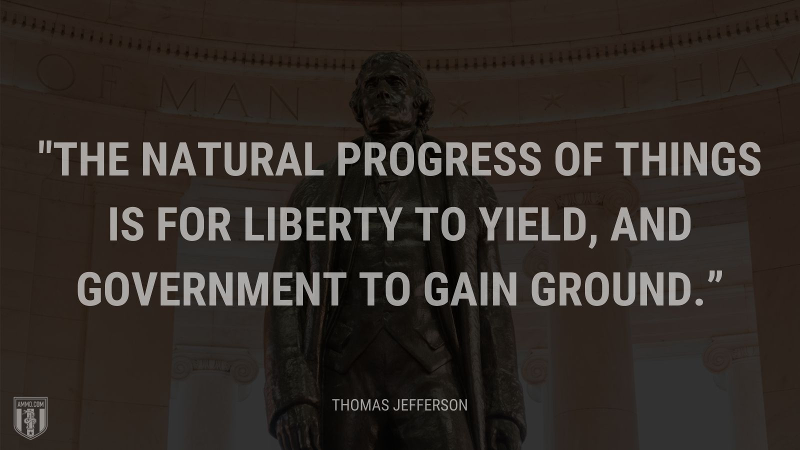 """The natural progress of things is for liberty to yield, and government to gain ground."" - Thomas Jefferson"