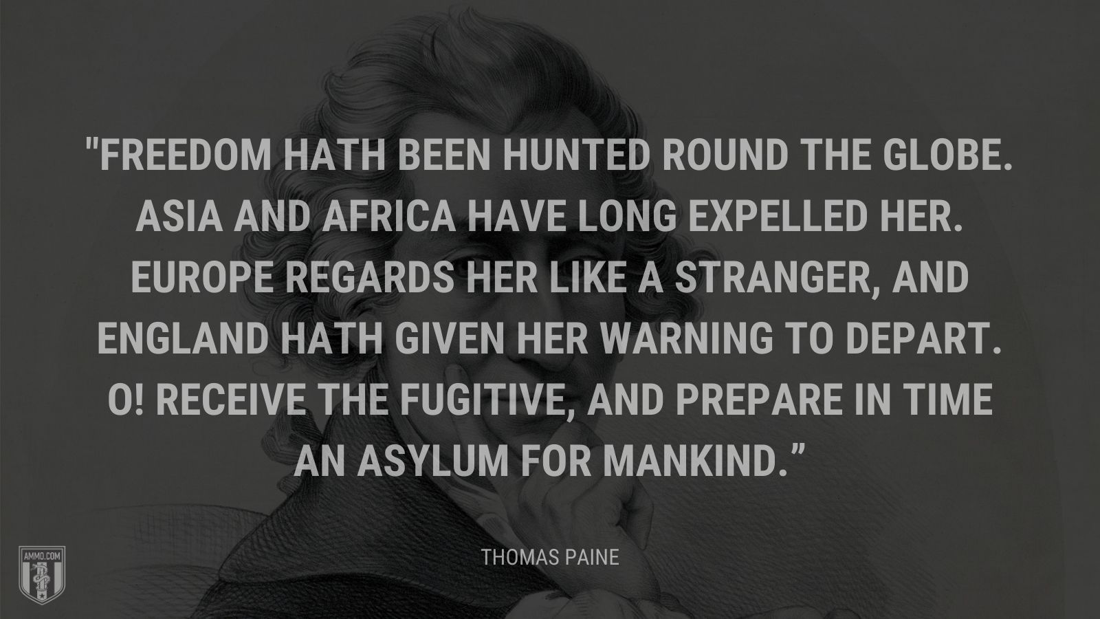 """Freedom hath been hunted round the globe. Asia and Africa have long expelled her. Europe regards her like a stranger, and England hath given her warning to depart. O! Receive the fugitive, and prepare in time an asylum for mankind."" - Thomas Paine"