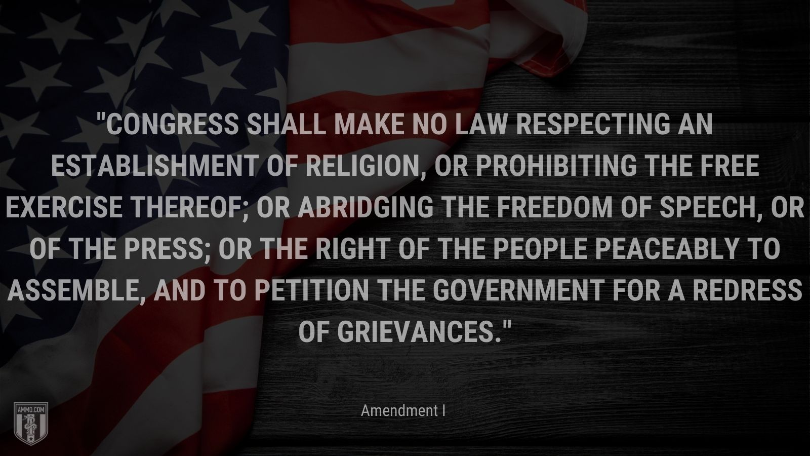 """""""Congress shall make no law respecting an establishment of religion, or prohibiting the free exercise thereof; or abridging the freedom of speech, or of the press; or the right of the people peaceably to assemble, and to petition the Government for a redress of grievances."""" - Amendment I"""