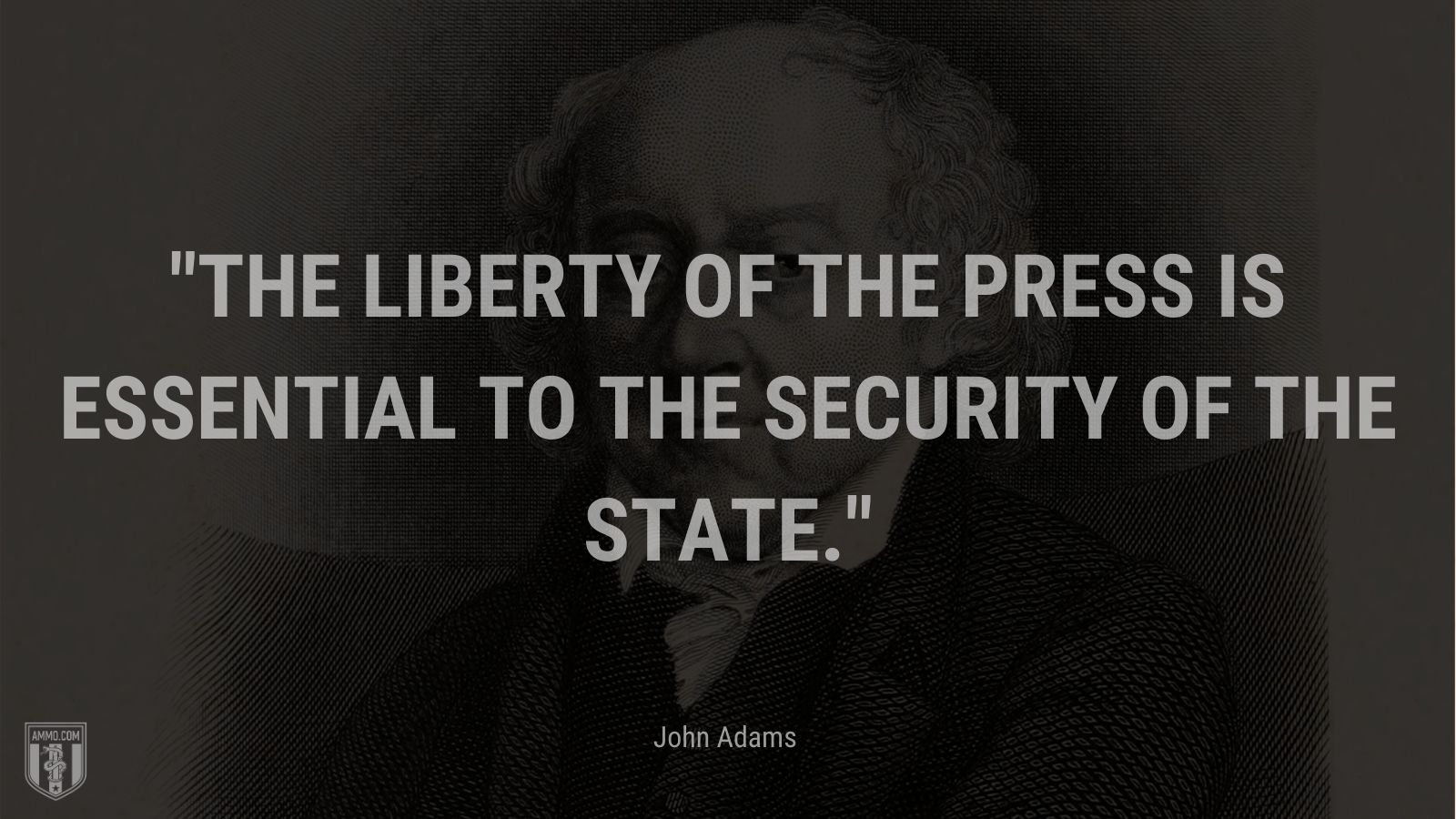 """""""The liberty of the press is essential to the security of the state."""" - John Adams"""