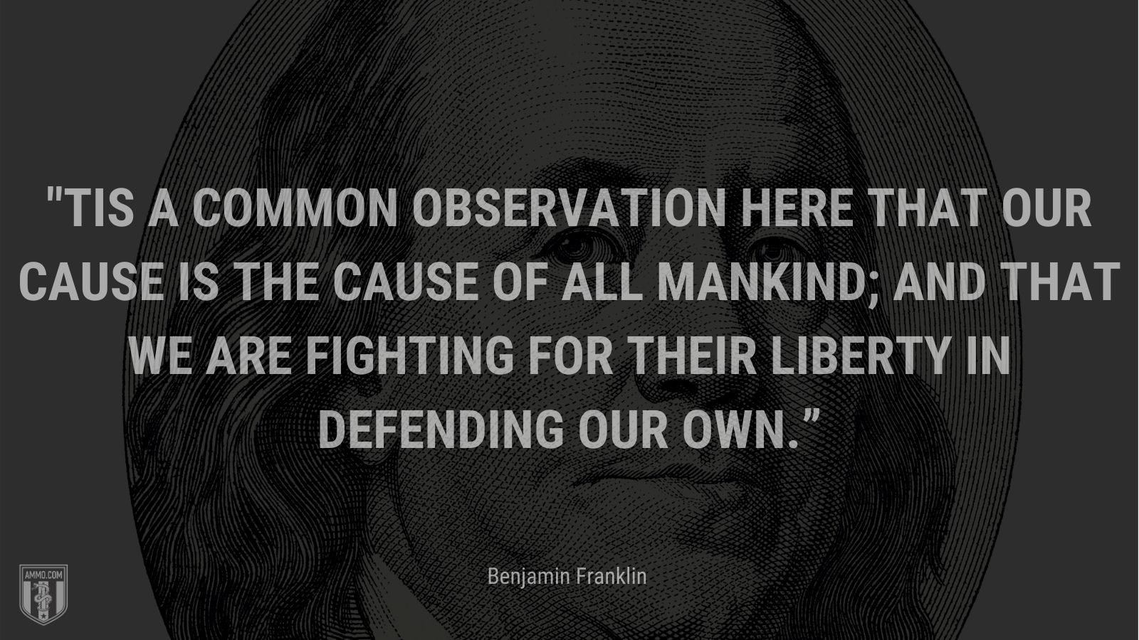 """""""'Tis a Common Observation here that our Cause is the Cause of all Mankind; and that we are fighting for their Liberty in defending our own."""" - Benjamin Franklin"""