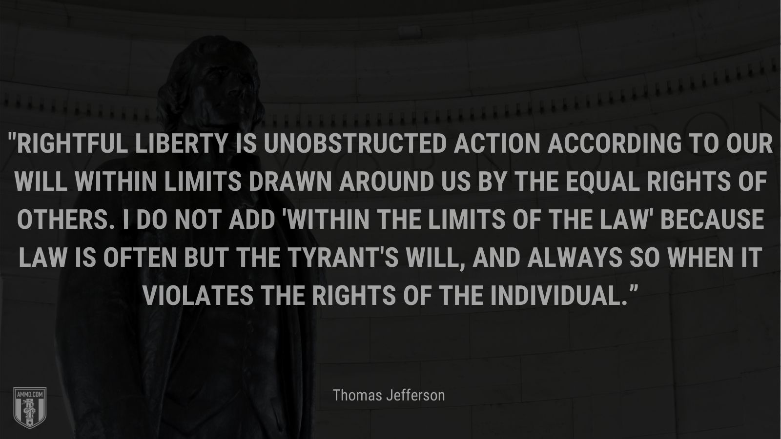"""""""Rightful liberty is unobstructed action according to our will within limits drawn around us by the equal rights of others. I do not add 'within the limits of the law' because law is often but the tyrant's will, and always so when it violates the rights of the individual."""" - Thomas Jefferson"""