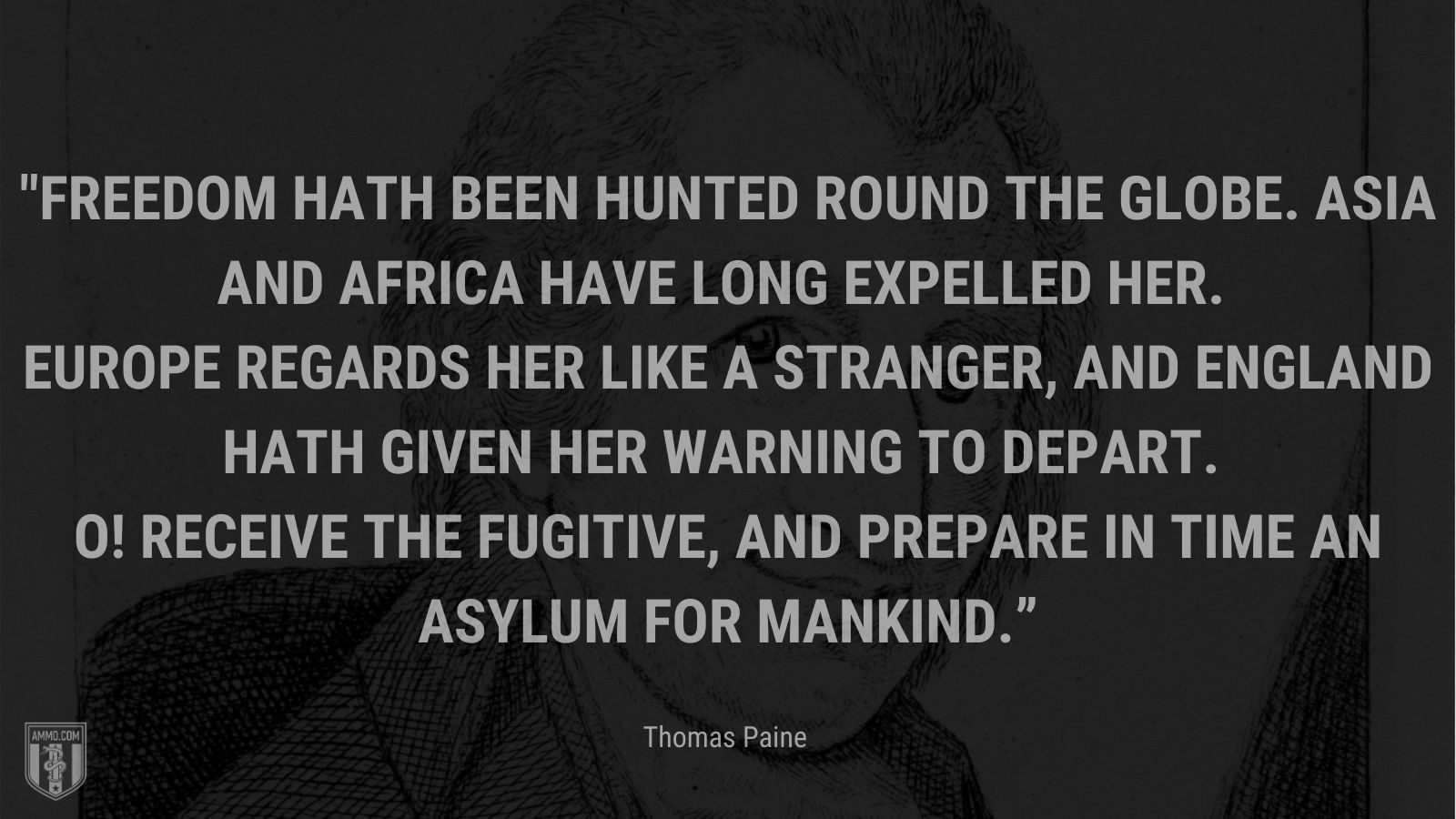 """""""Freedom hath been hunted round the globe. Asia and Africa have long expelled her. Europe regards her like a stranger, and England hath given her warning to depart. O! Receive the fugitive, and prepare in time an asylum for mankind."""" - Thomas Paine"""