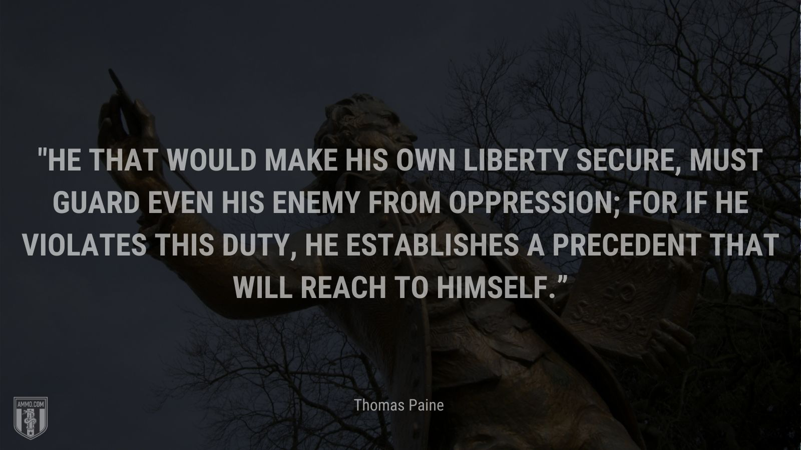 """""""He that would make his own liberty secure, must guard even his enemy from oppression; for if he violates this duty, he establishes a precedent that will reach to himself."""" - Thomas Paine"""