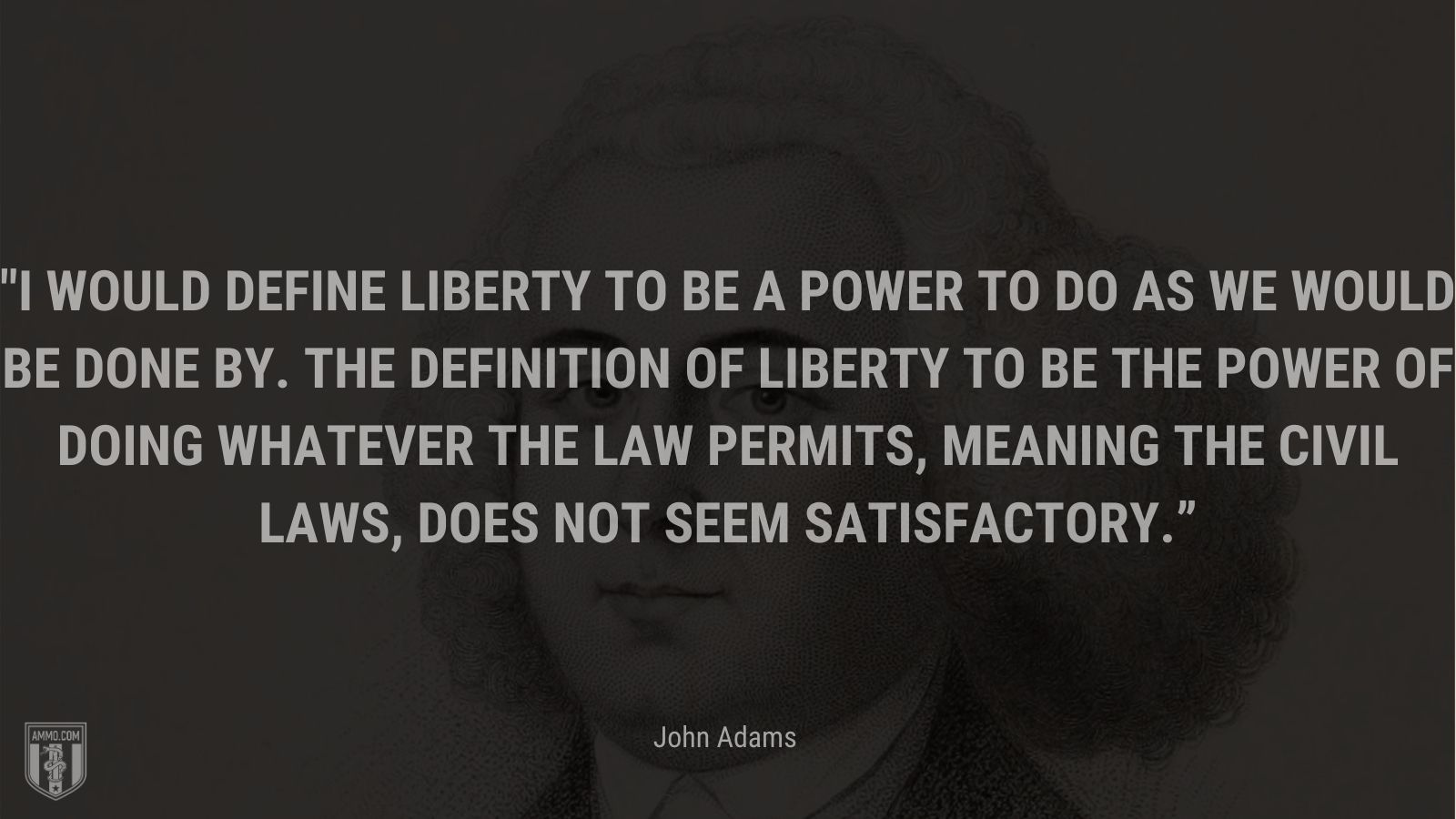 """""""I would define liberty to be a power to do as we would be done by. The definition of liberty to be the power of doing whatever the law permits, meaning the civil laws, does not seem satisfactory."""" - John Adams"""