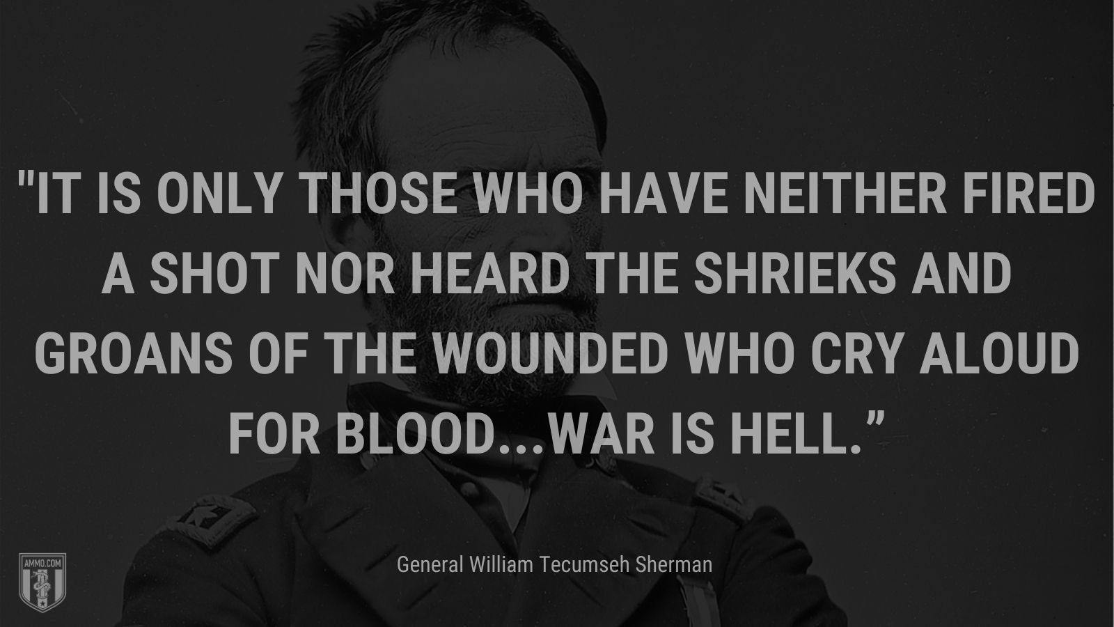 """""""It is only those who have neither fired a shot nor heard the shrieks and groans of the wounded who cry aloud for blood...War is hell."""" - General William Tecumseh Sherman"""