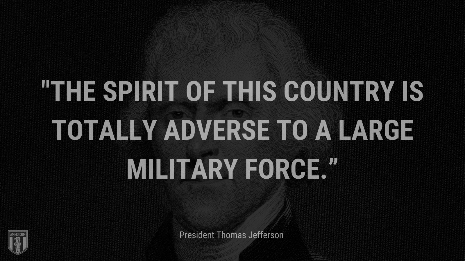 """""""The spirit of this country is totally adverse to a large military force."""" - President Thomas Jefferson"""