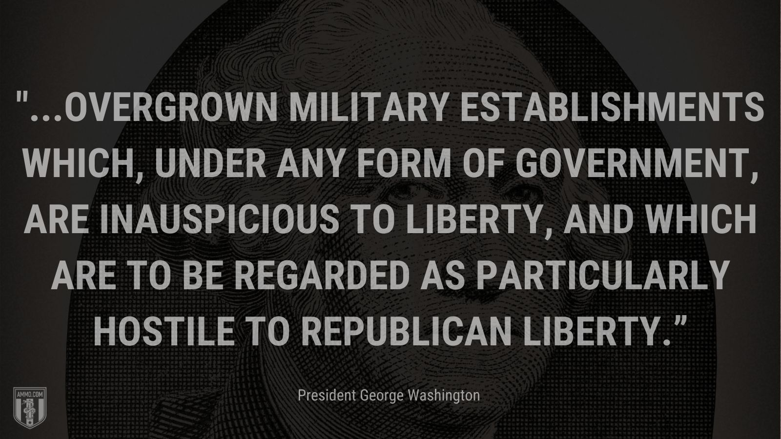 """""""...overgrown military establishments which, under any form of government, are inauspicious to liberty, and which are to be regarded as particularly hostile to republican liberty."""" - President George Washington"""