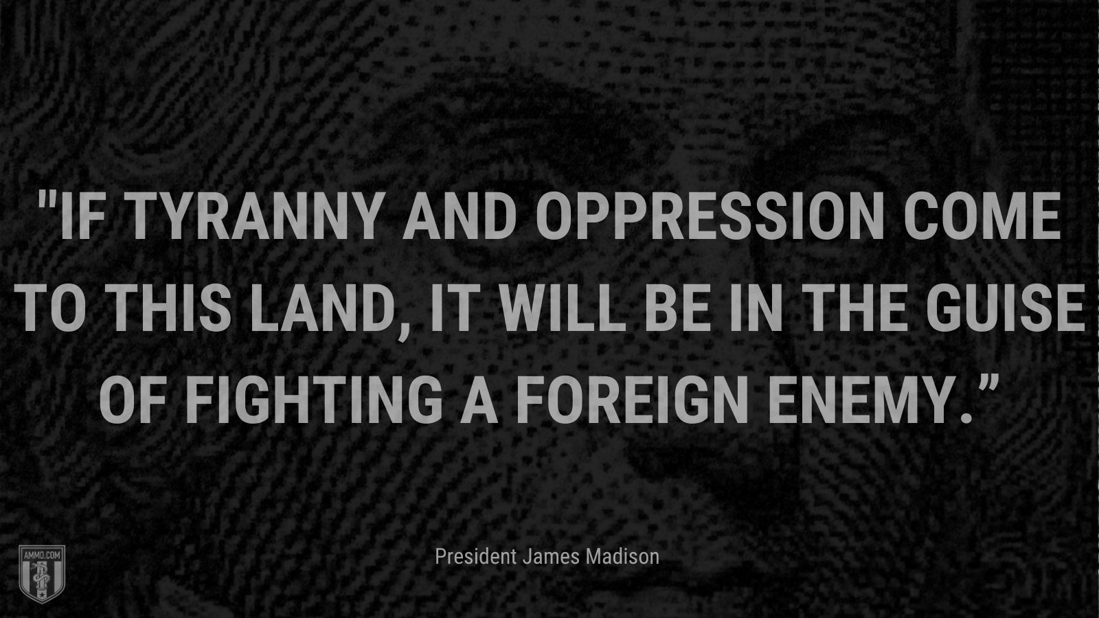 """""""If Tyranny and Oppression come to this land, it will be in the guise of fighting a foreign enemy."""" - President James Madison"""