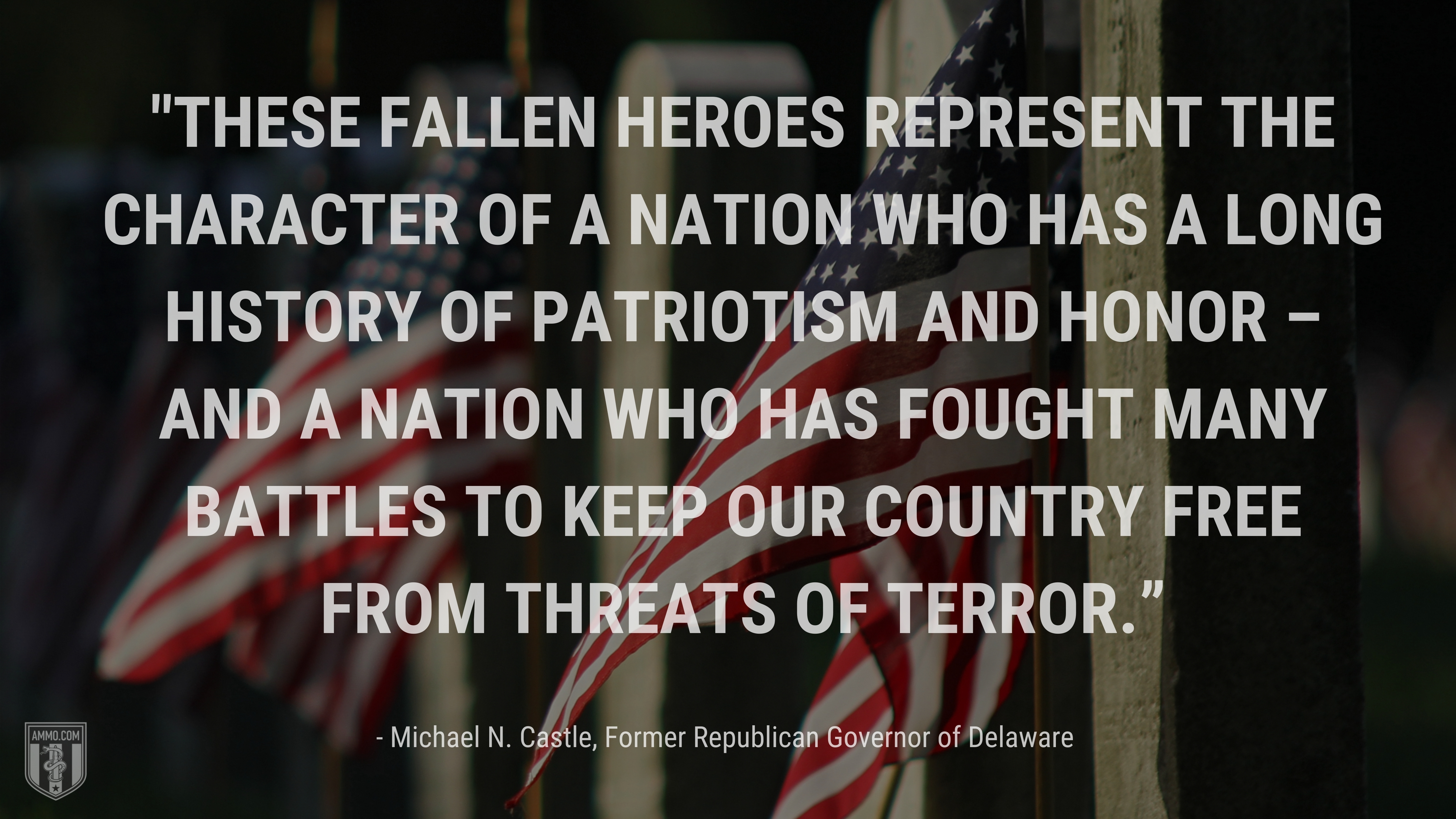"""""""These fallen heroes represent the character of a nation who has a long history of patriotism and honor – and a nation who has fought many battles to keep our country free from threats of terror."""" - Michael N. Castle, Former Republican Governor of Delaware"""