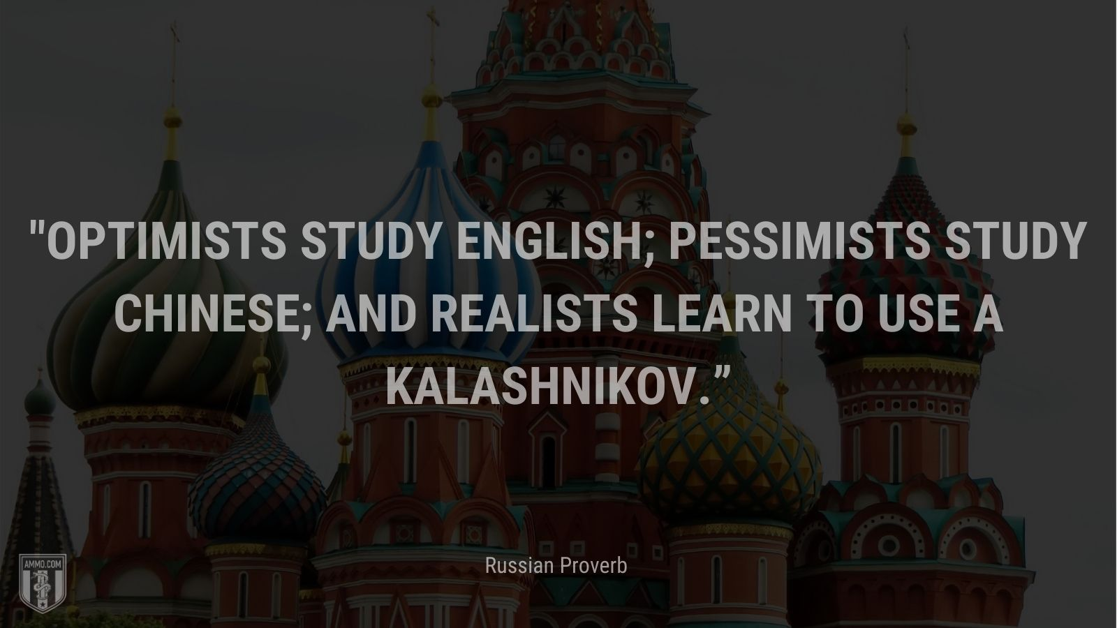 """""""Optimists study English; pessimists study Chinese; and realists learn to use a Kalashnikov."""" - Russian Proverb"""