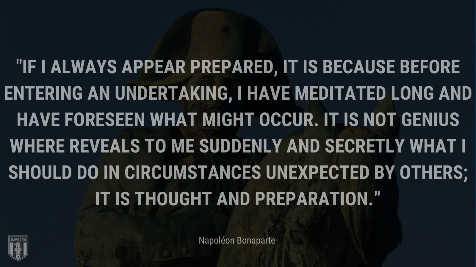 """""""If I always appear prepared, it is because before entering an undertaking, I have meditated long and have foreseen what might occur. It is not genius where reveals to me suddenly and secretly what I should do in circumstances unexpected by others; it is thought and preparation."""" - Napoléon Bonaparte"""