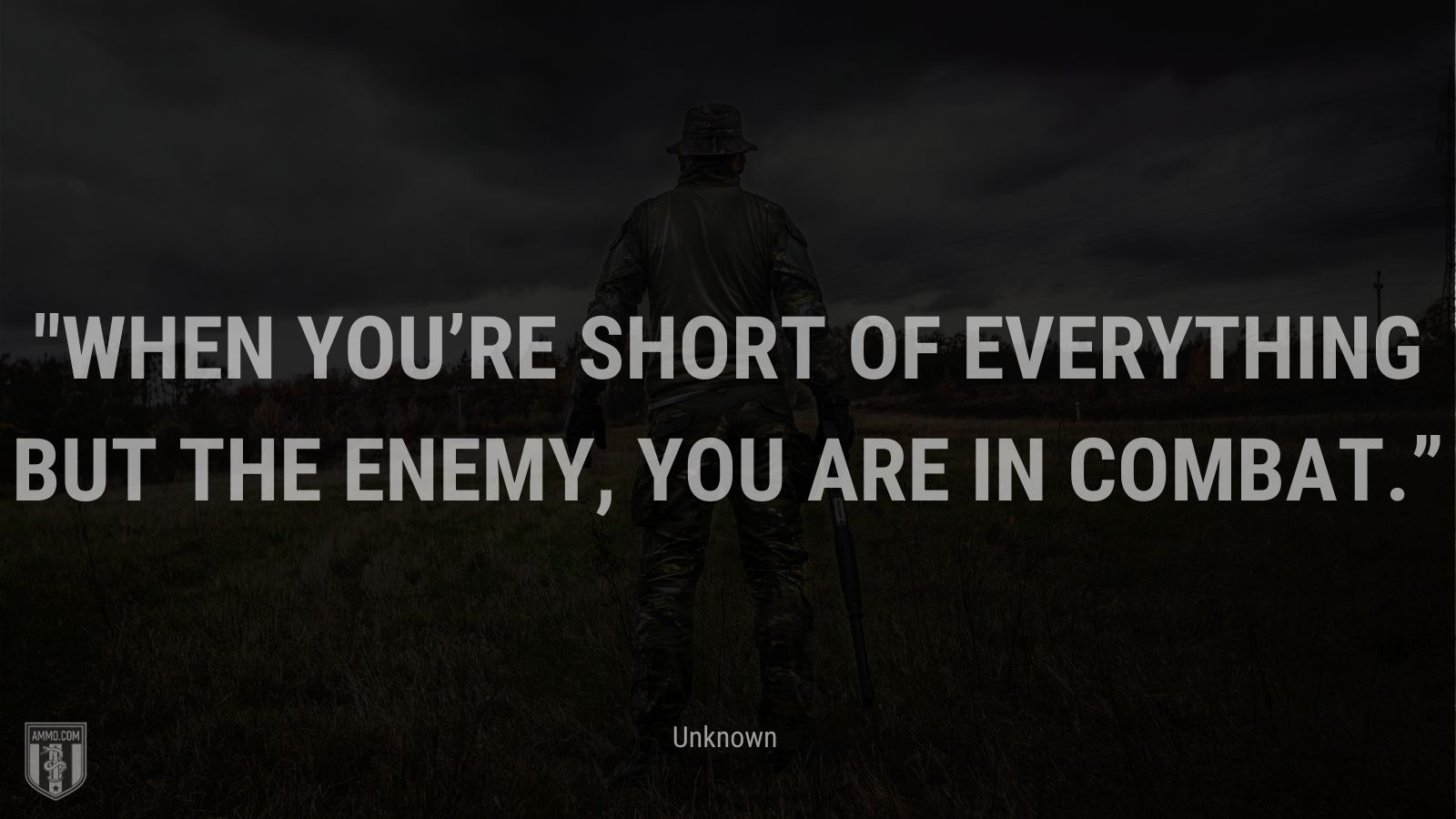 """""""When you're short of everything but the enemy, you are in combat."""" - Unknown"""