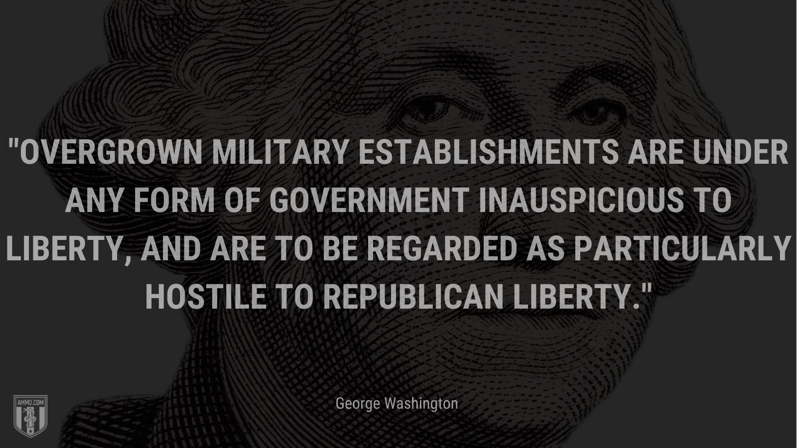 """""""Overgrown military establishments are under any form of government inauspicious to liberty, and are to be regarded as particularly hostile to republican liberty."""" - George Washington"""
