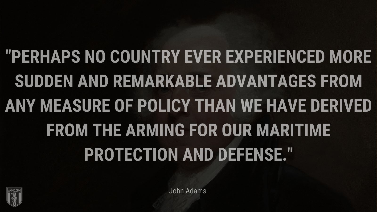"""""""Perhaps no country ever experienced more sudden and remarkable advantages from any measure of policy than we have derived from the arming for our maritime protection and defense."""" - John Adams"""