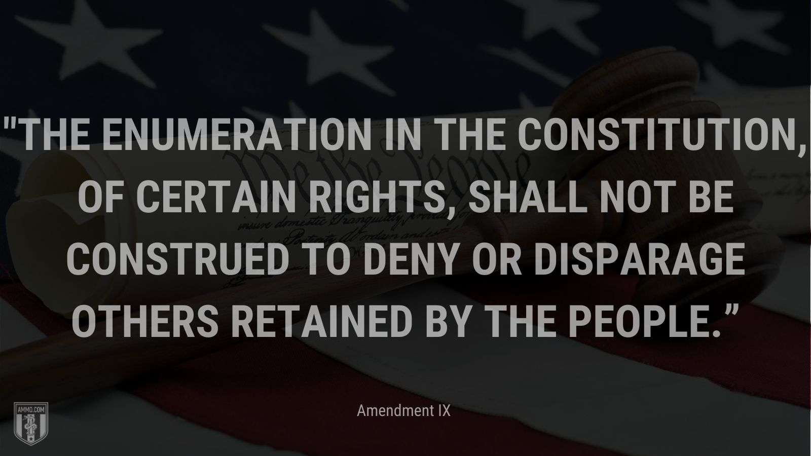 """""""The enumeration in the Constitution, of certain rights, shall not be construed to deny or disparage others retained by the people."""" - Amendment IX"""