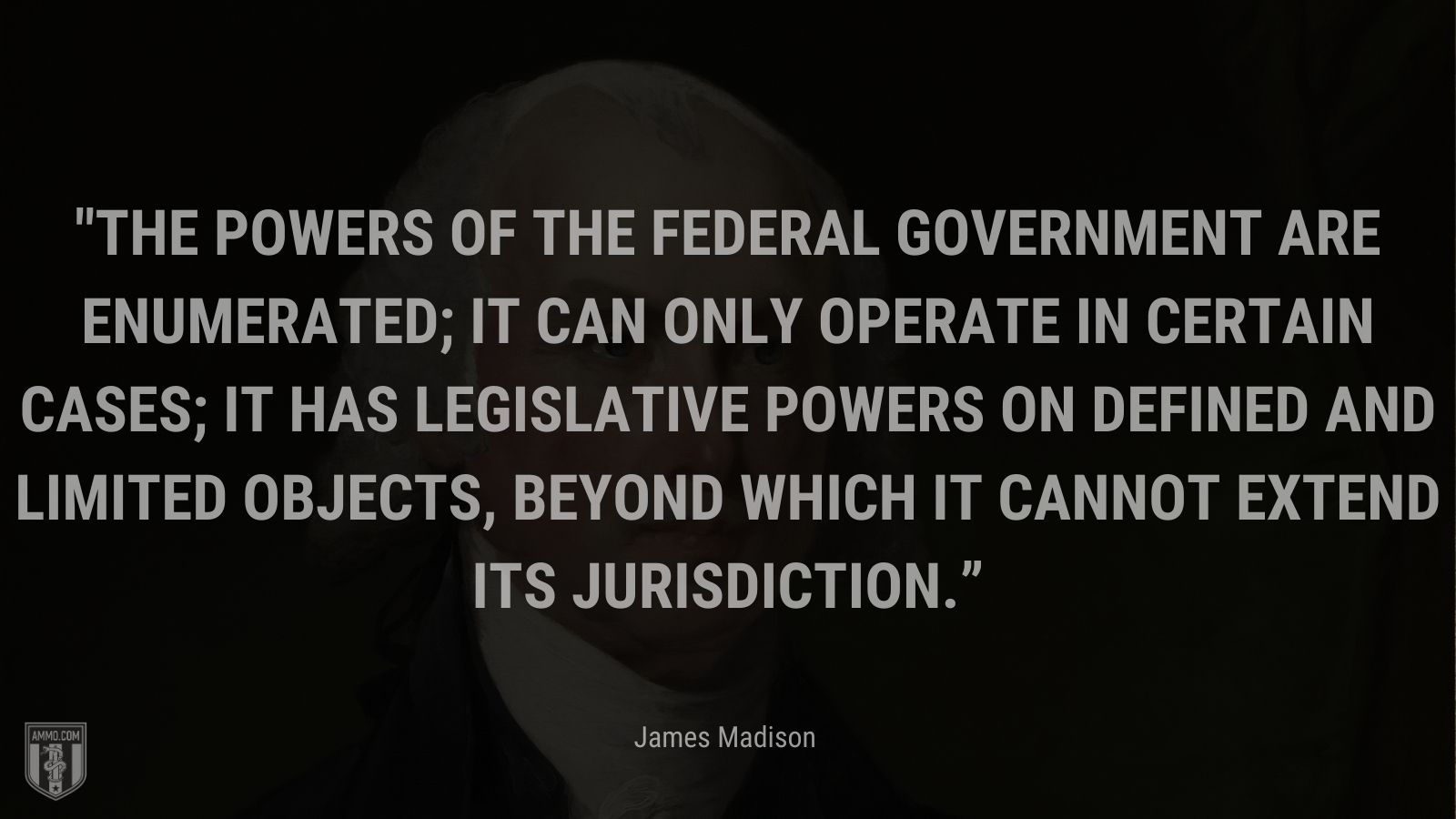 """""""The powers of the federal government are enumerated; it can only operate in certain cases; it has legislative powers on defined and limited objects, beyond which it cannot extend its jurisdiction."""" - James Madison"""