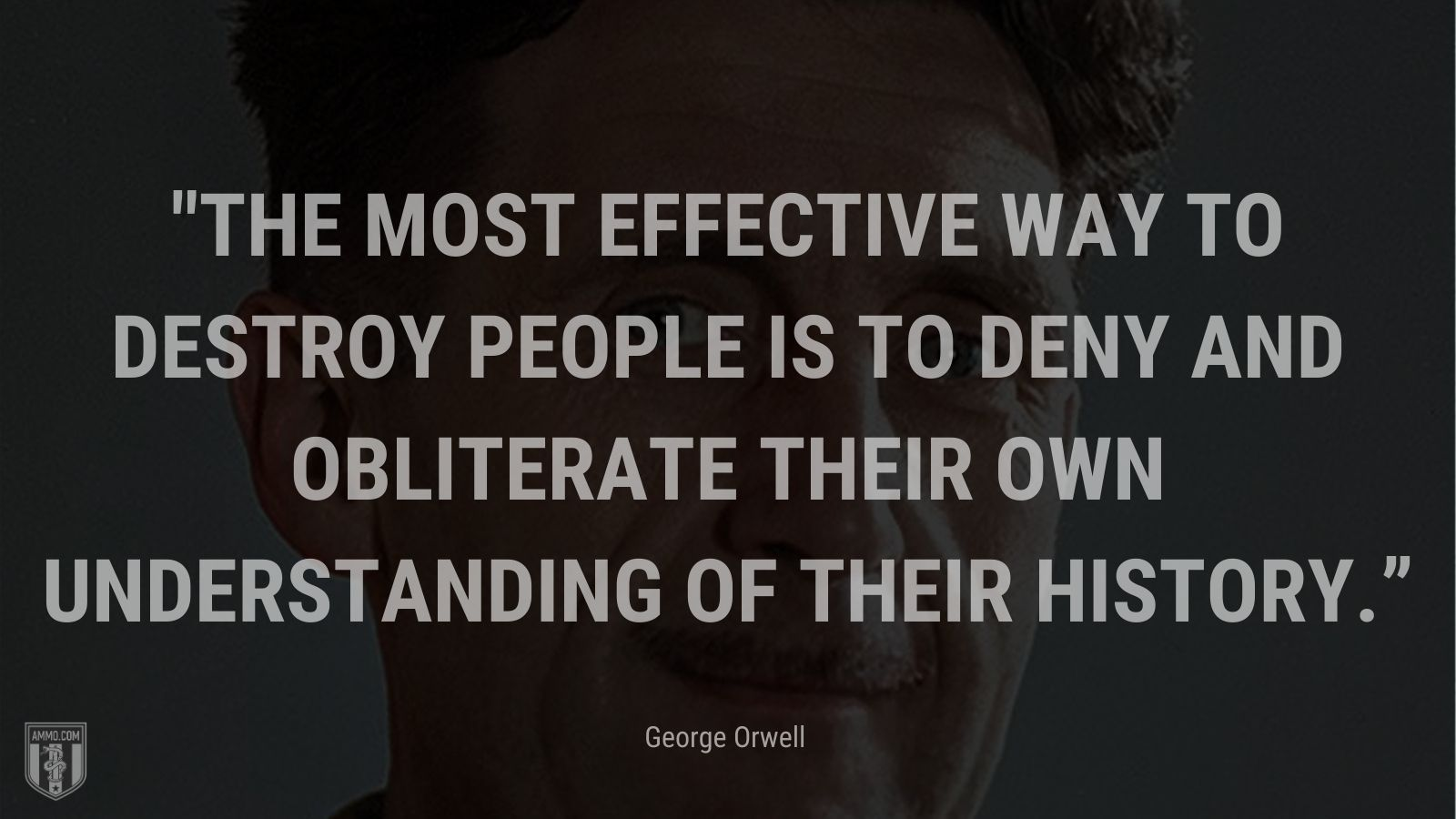 """""""The most effective way to destroy people is to deny and obliterate their own understanding of their history"""" - George Orwell"""