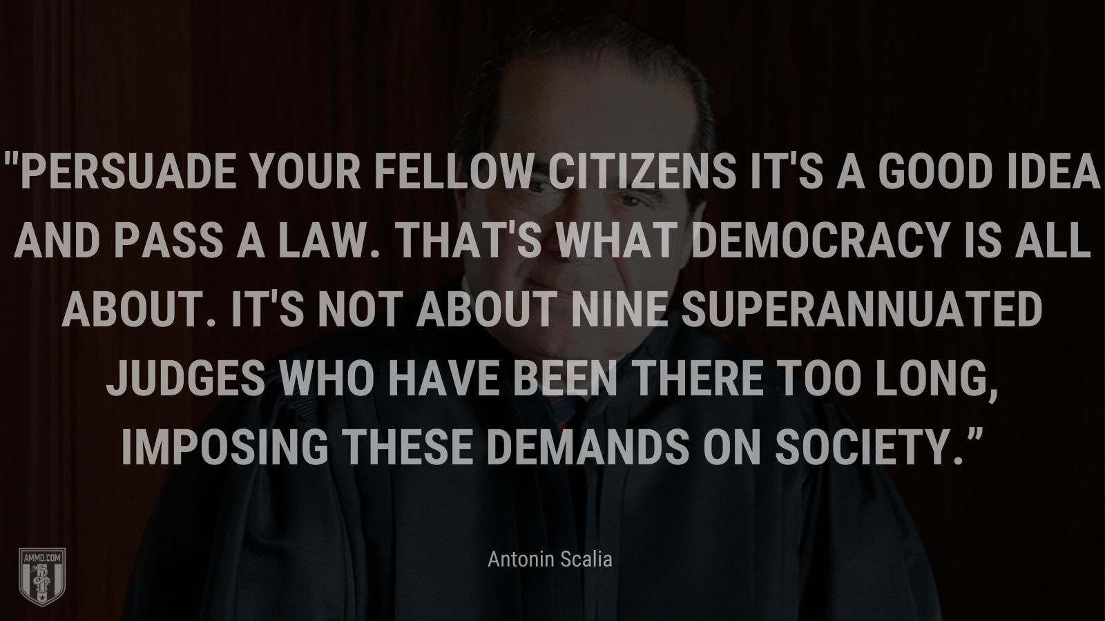 """""""Persuade your fellow citizens it's a good idea and pass a law. That's what democracy is all about. It's not about nine superannuated judges who have been there too long, imposing these demands on society."""" - Antonin Scalia"""
