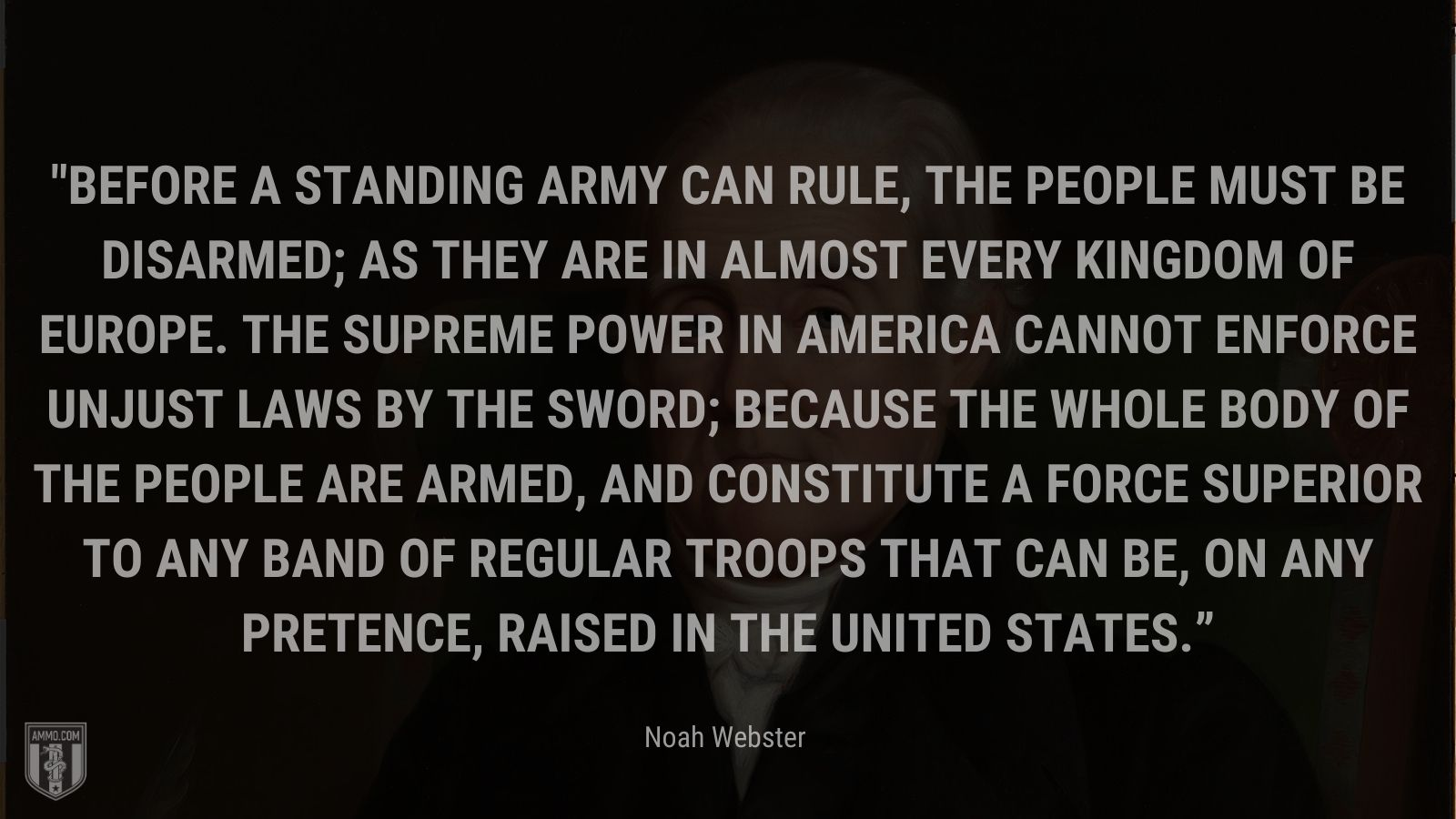 """""""Before a standing army can rule, the people must be disarmed; as they are in almost every kingdom of Europe. The supreme power in America cannot enforce unjust laws by the sword; because the whole body of the people are armed, and constitute a force superior to any band of regular troops that can be, on any pretence, raised in the United States."""" - Noah Webster"""
