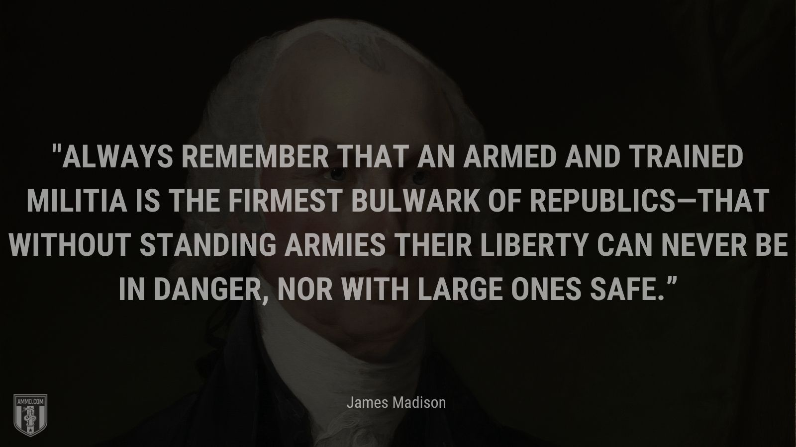 """""""Always remember that an armed and trained militia is the firmest bulwark of republics—that without standing armies their liberty can never be in danger, nor with large ones safe."""" - James Madison"""