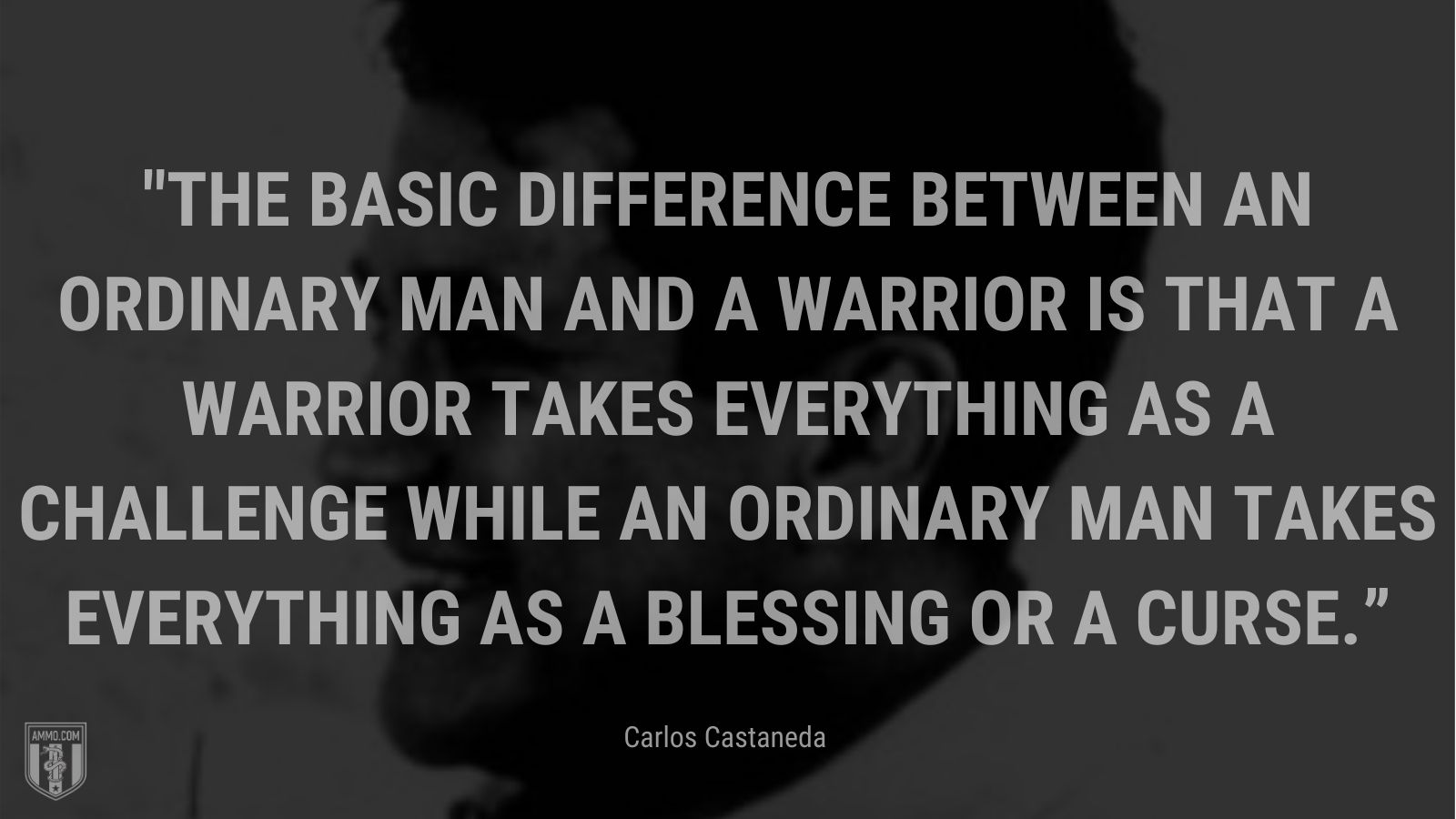 """""""The basic difference between an ordinary man and a warrior is that a warrior takes everything as a challenge while an ordinary man takes everything as a blessing or a curse."""" - Carlos Castaneda"""